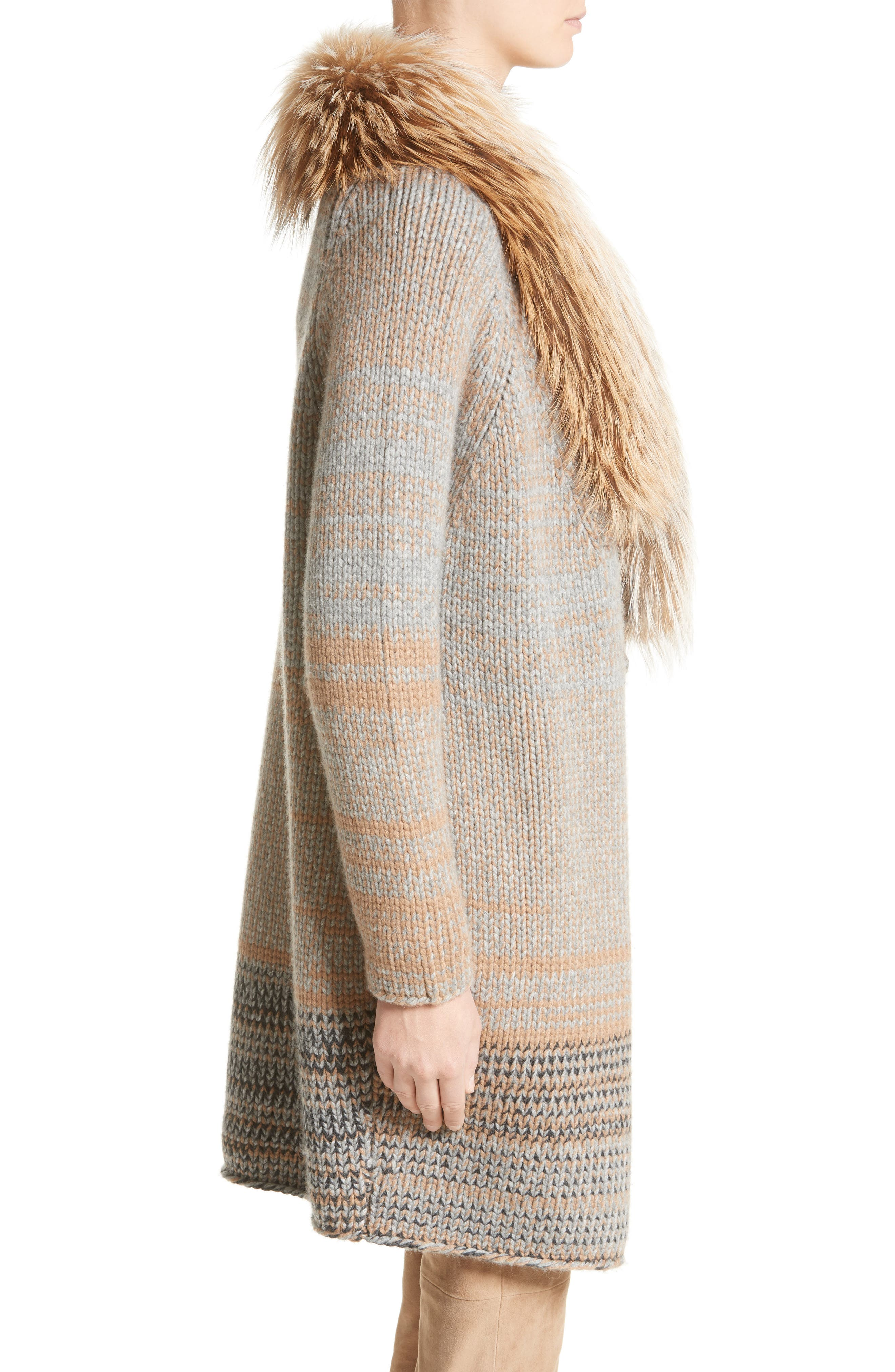 Cashmere Cardigan with Removable Genuine Fox Fur Collar,                             Alternate thumbnail 4, color,