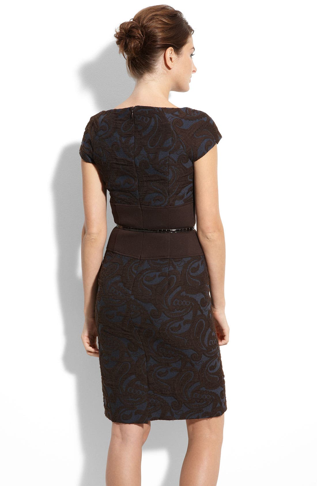 Belted Jacquard Sheath Dress,                             Alternate thumbnail 2, color,                             200
