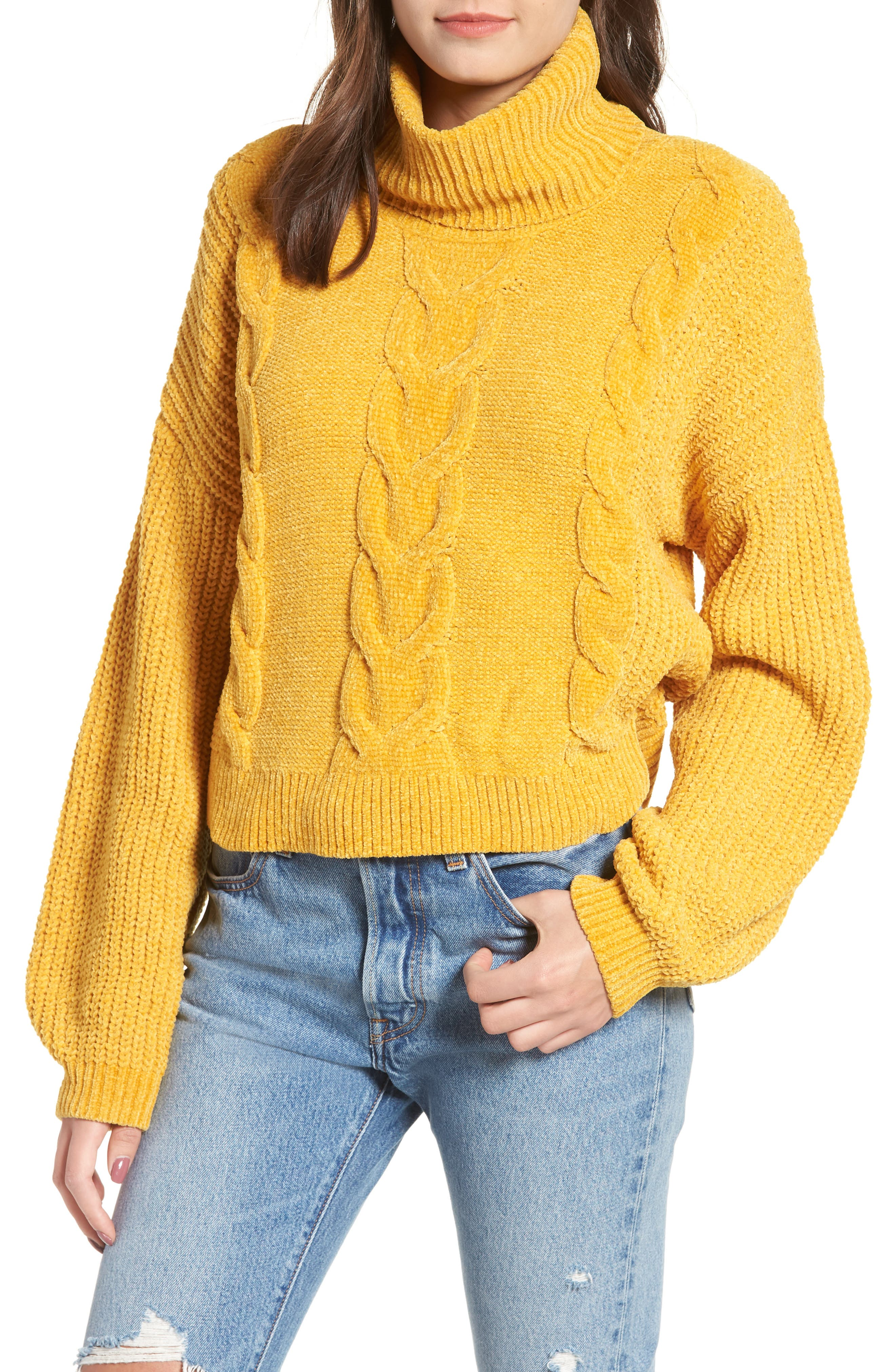 Cable Knit Chenille Sweater,                             Main thumbnail 1, color,                             YELLOW MINERAL