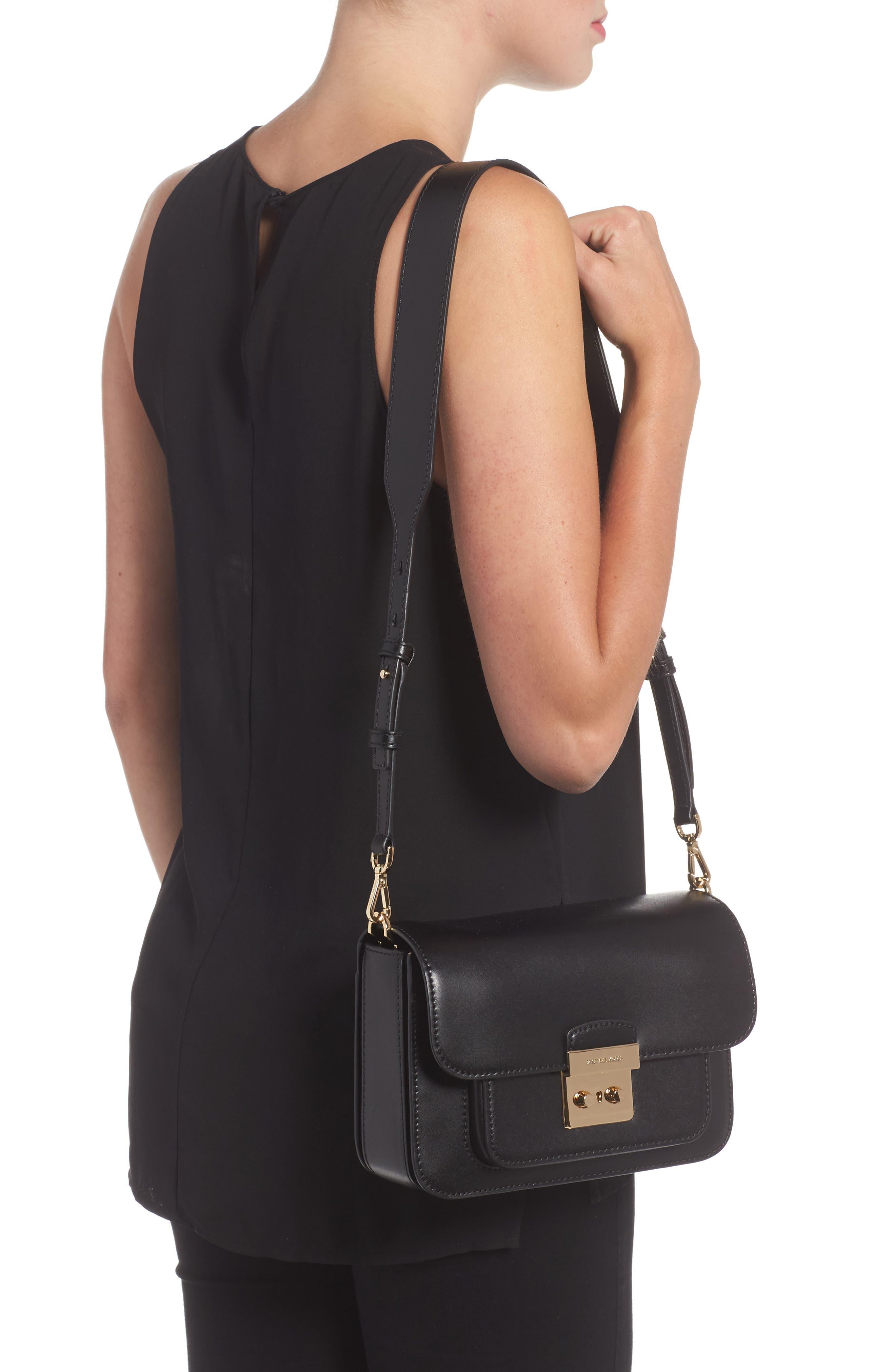 Large Sloan Editor Leather Shoulder Bag,                             Alternate thumbnail 2, color,                             BLACK