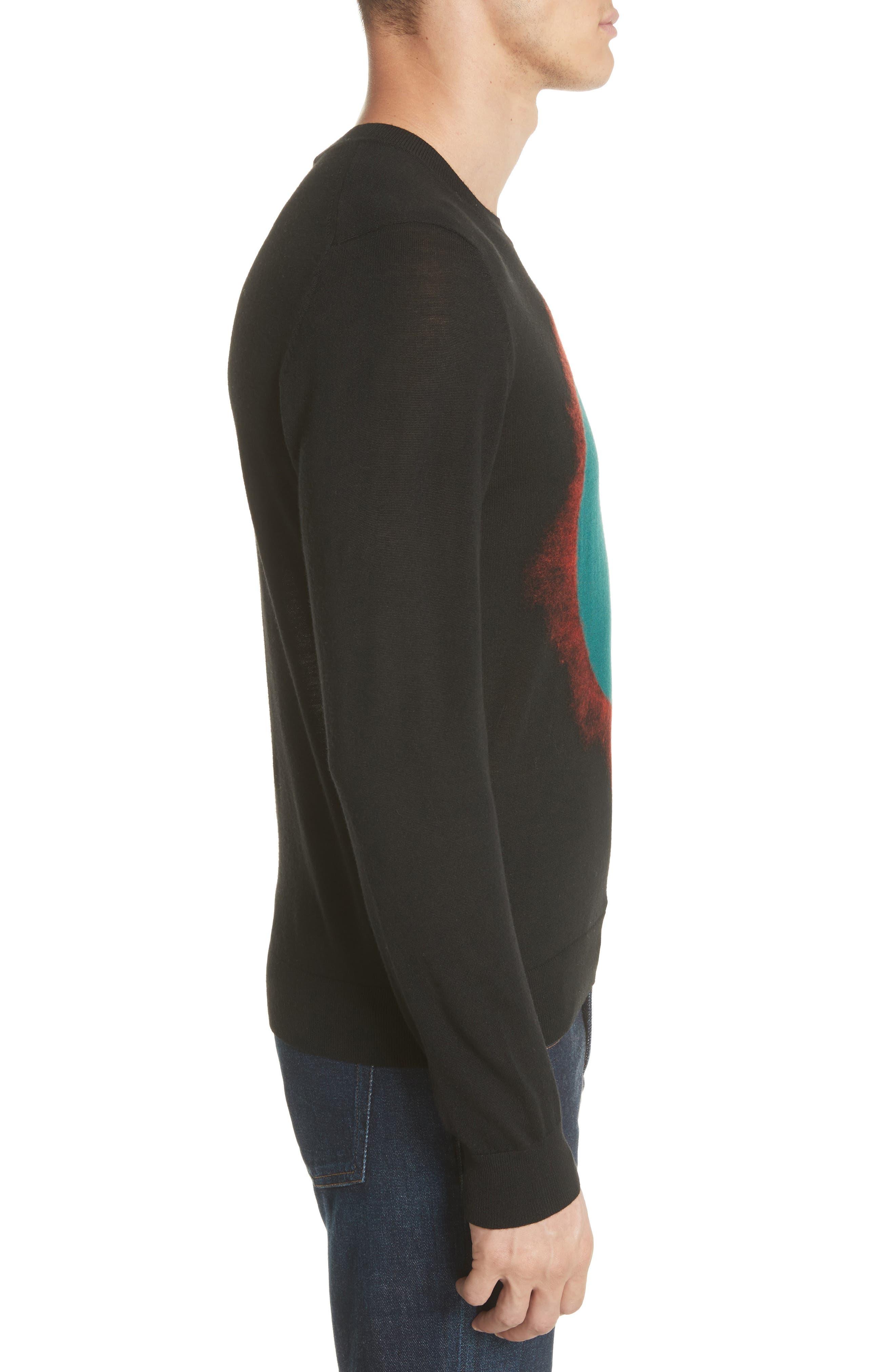 Circle Merino Wool Blend Sweater,                             Alternate thumbnail 3, color,                             001