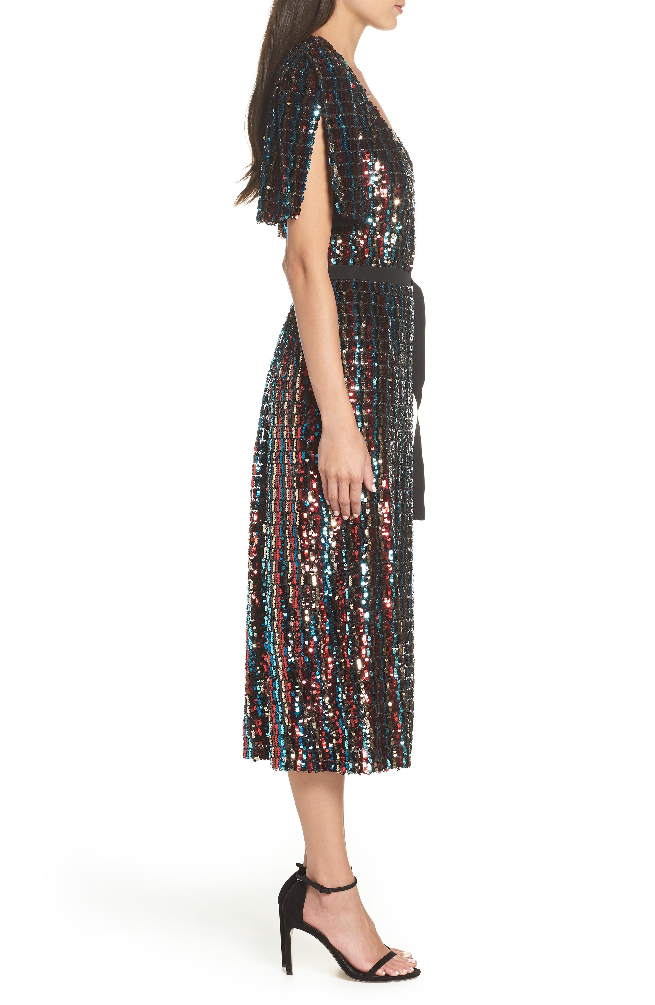 Multicolor Sequin Wrap Dress,                             Alternate thumbnail 3, color,                             MERLOT GOLD