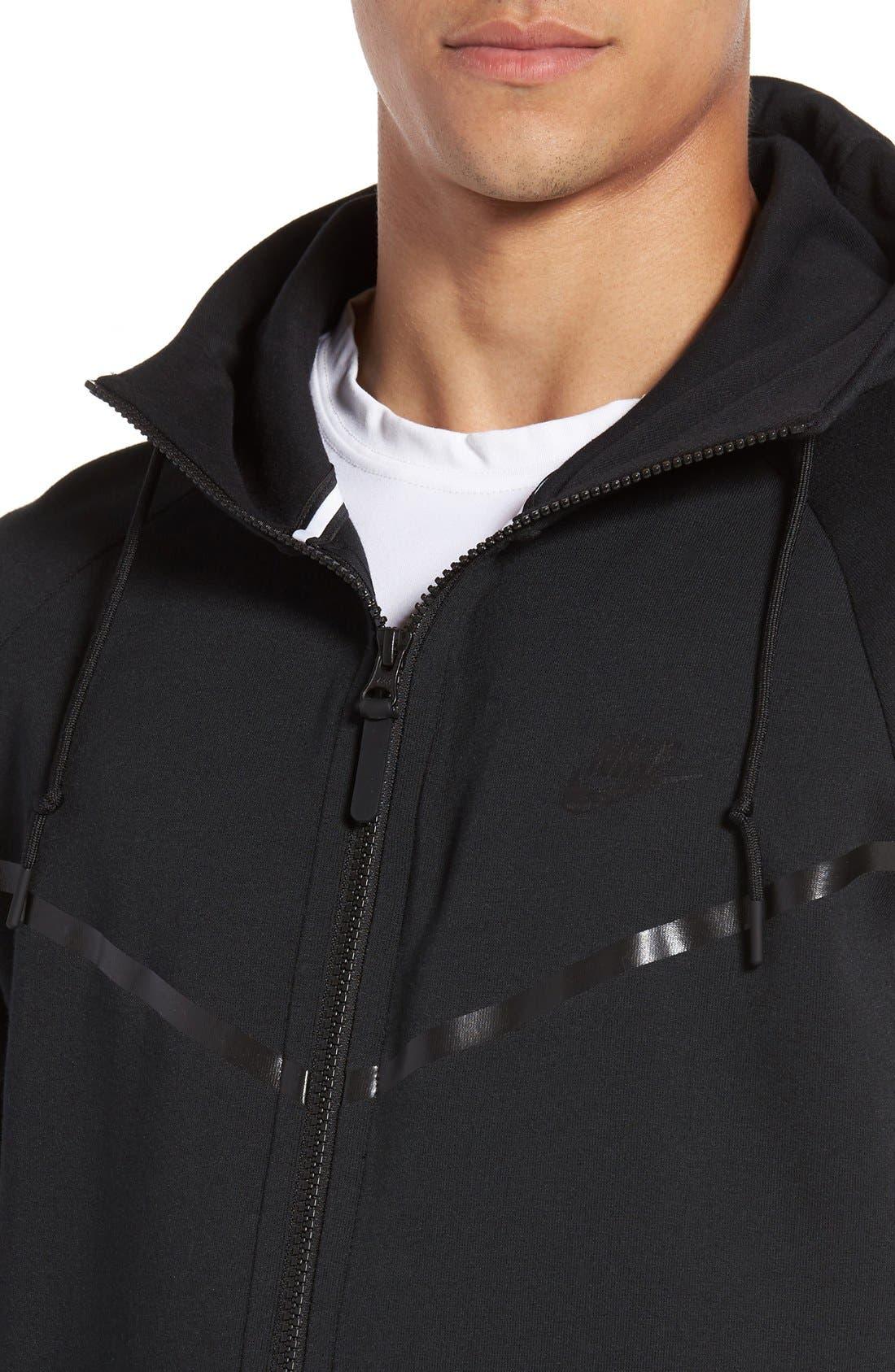 'Windrunner' Tech Fleece Hoodie,                             Alternate thumbnail 5, color,                             BLACK/ BLACK
