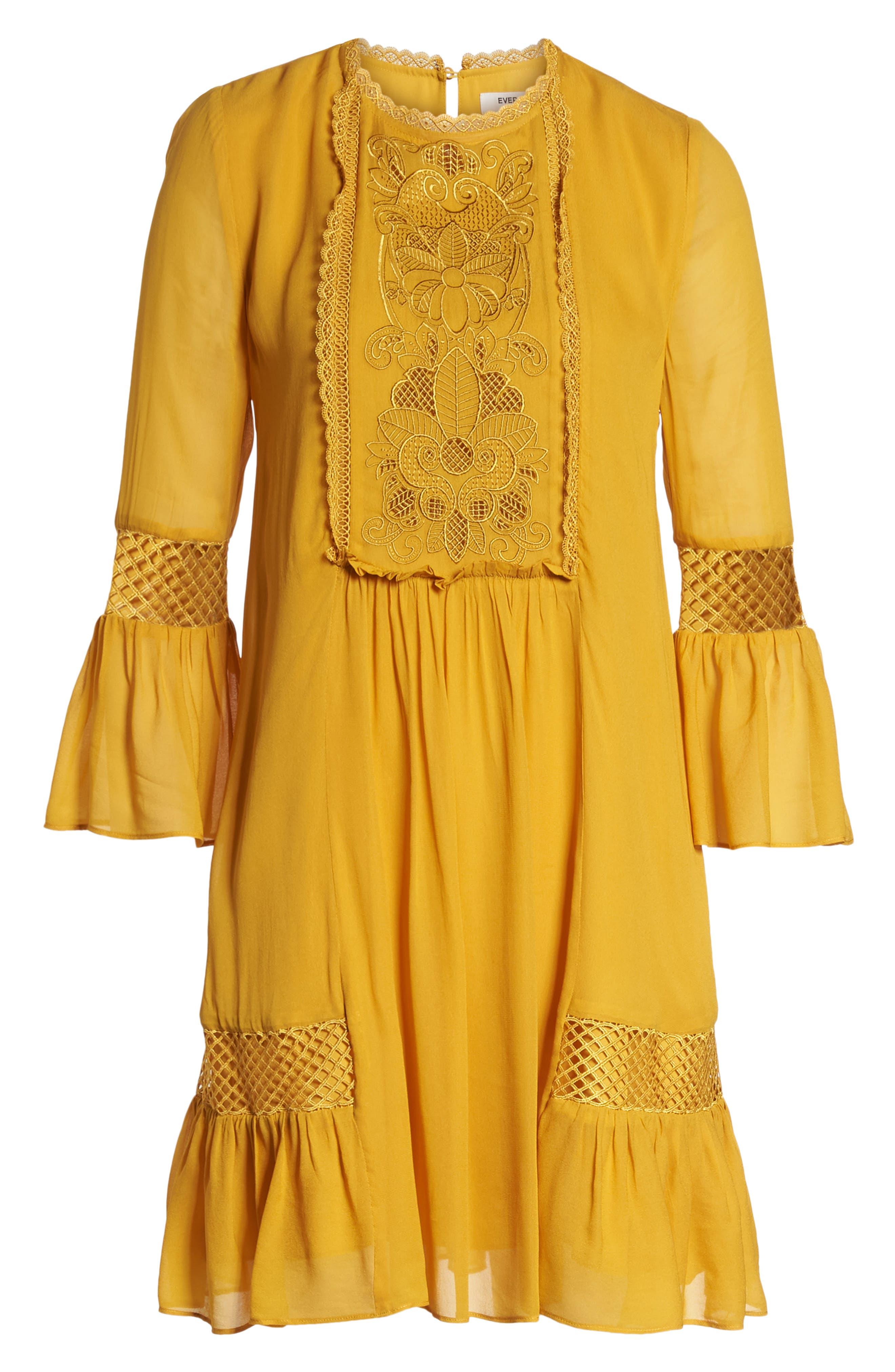 Embroidered Yoke Trapeze Dress,                             Alternate thumbnail 7, color,