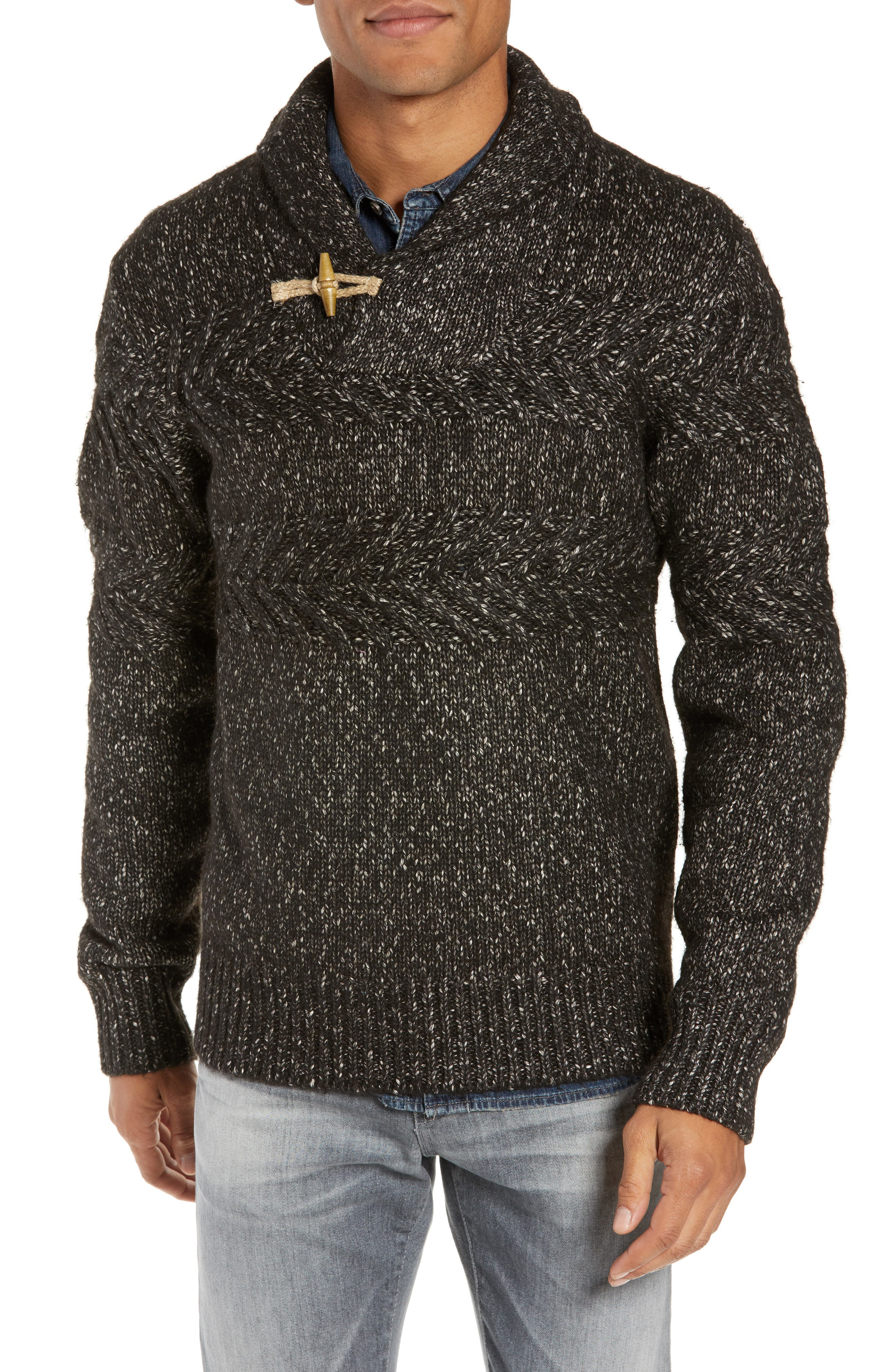 SCHOTT NYC,                             Heathered Shawl Collar Sweater,                             Main thumbnail 1, color,                             BLACK