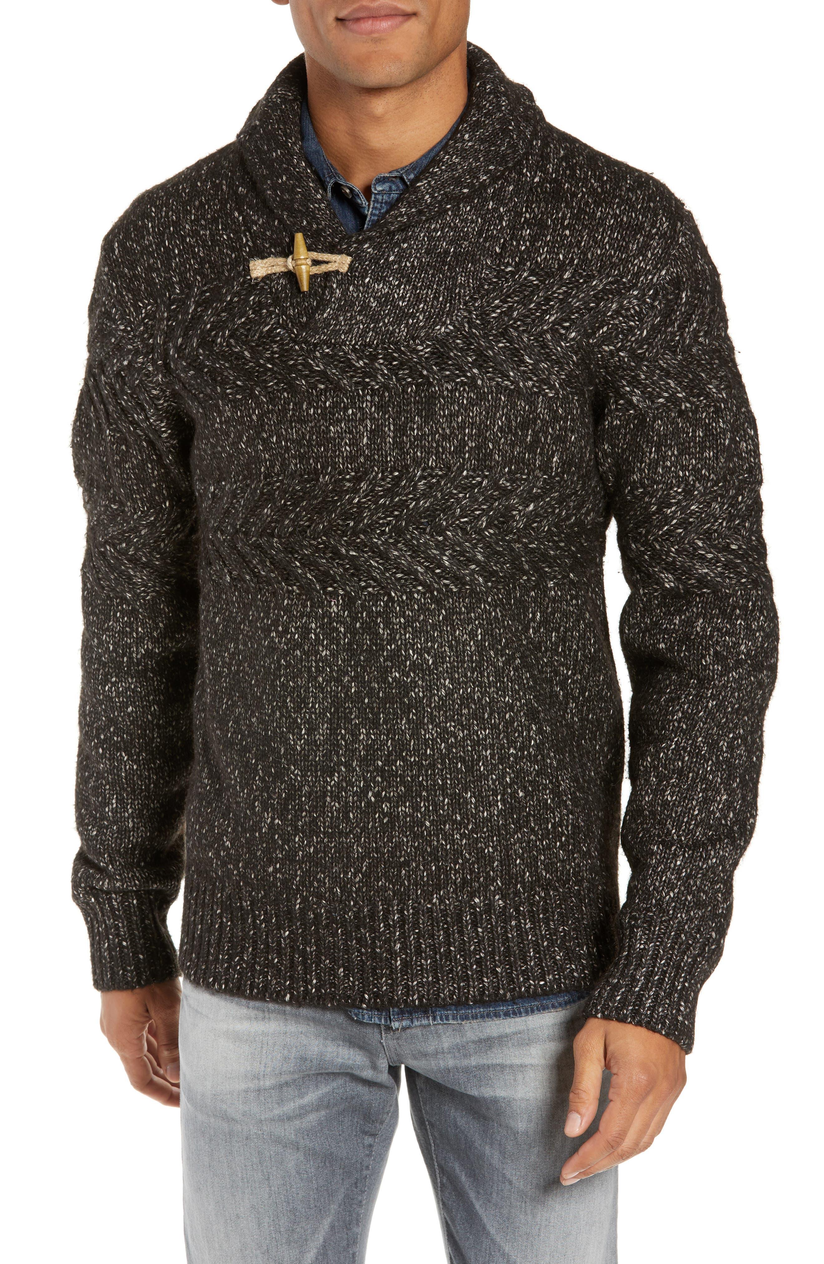 SCHOTT NYC Heathered Shawl Collar Sweater, Main, color, BLACK