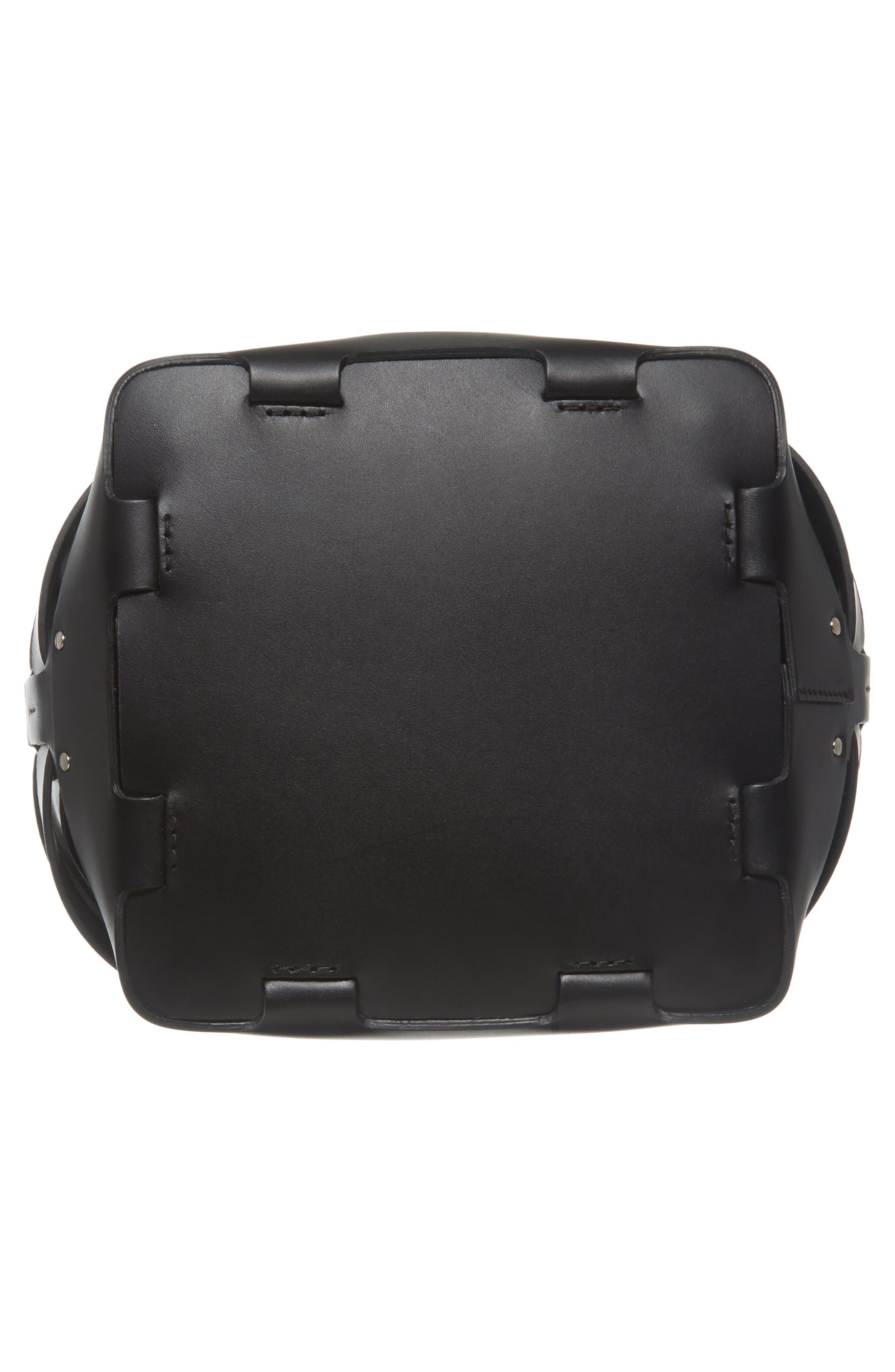 Medium Cage Leather Bucket Bag,                             Alternate thumbnail 6, color,                             001
