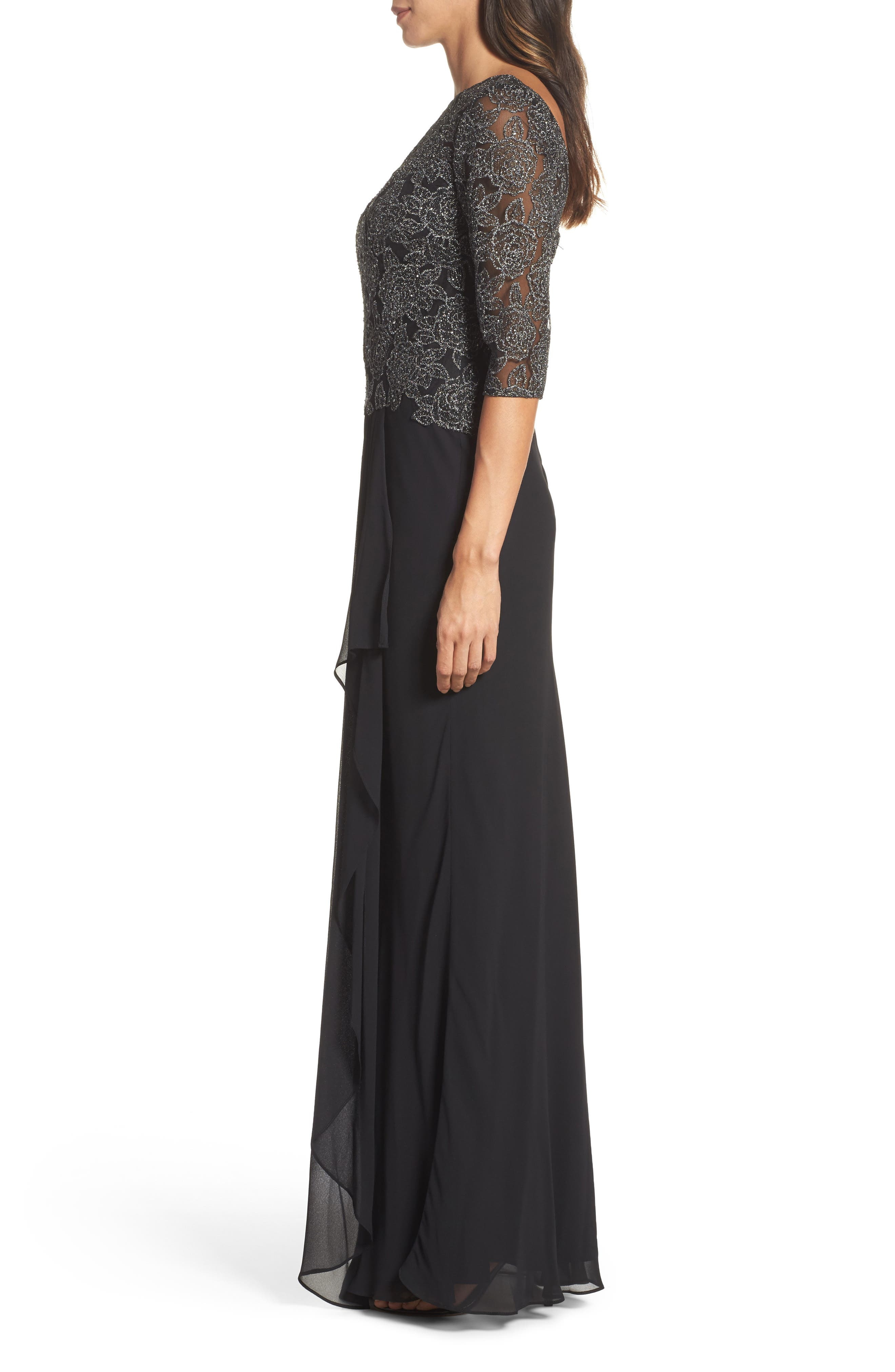 Metallic Embroidered A-Line Gown,                             Alternate thumbnail 3, color,                             BLACK