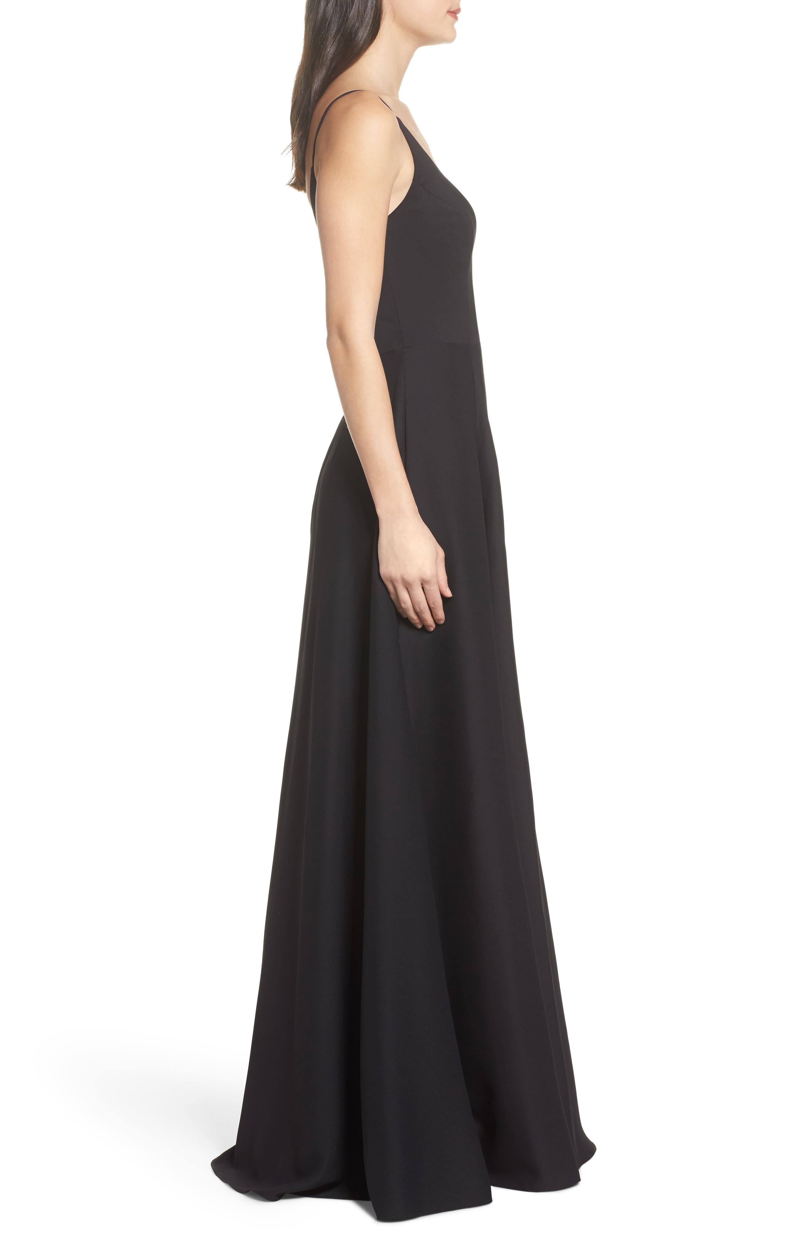 Cutout Crepe A-Line Gown,                             Alternate thumbnail 3, color,                             002