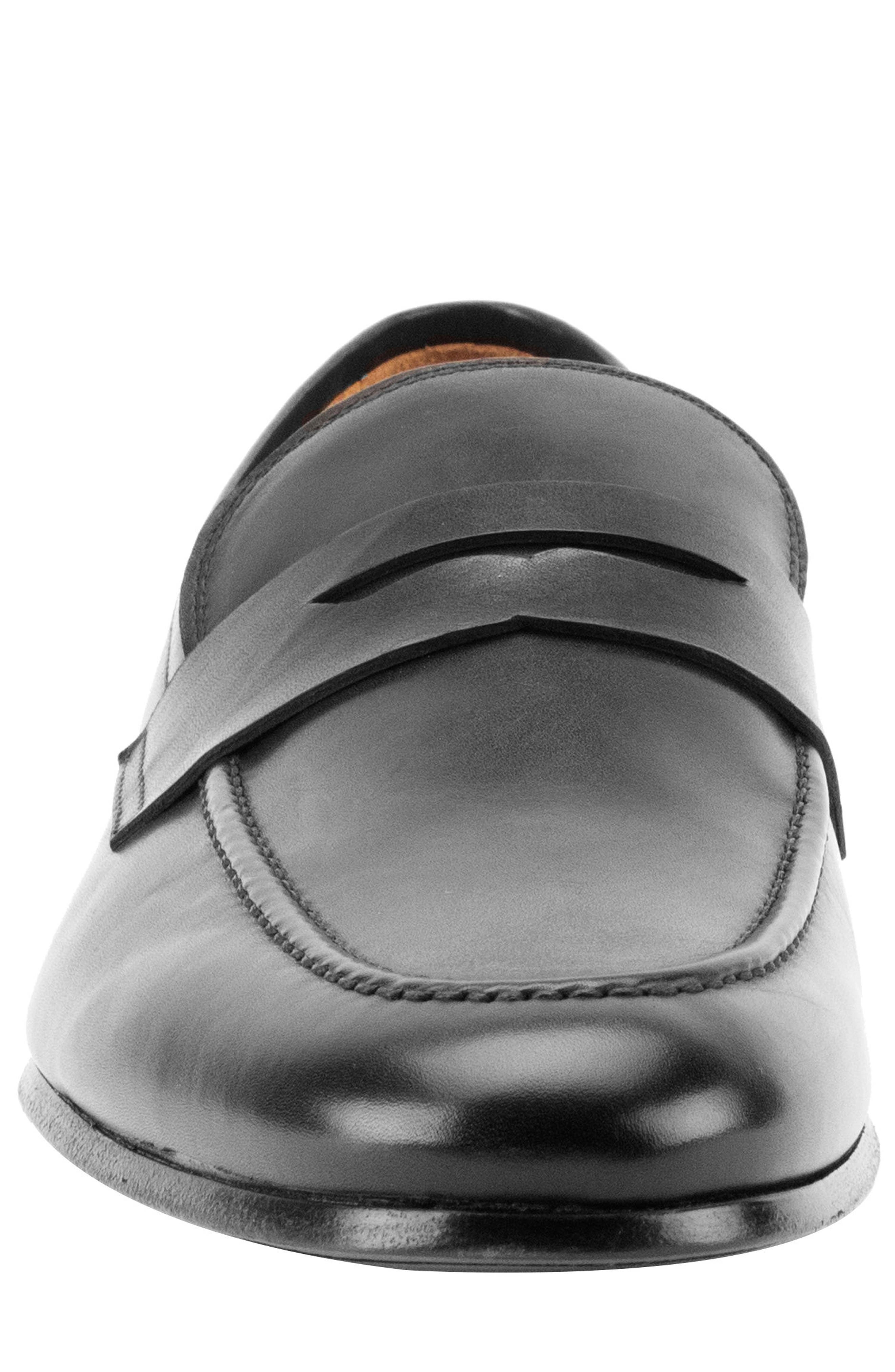 Coleman Apron Toe Penny Loafer,                             Alternate thumbnail 4, color,                             BLACK LEATHER