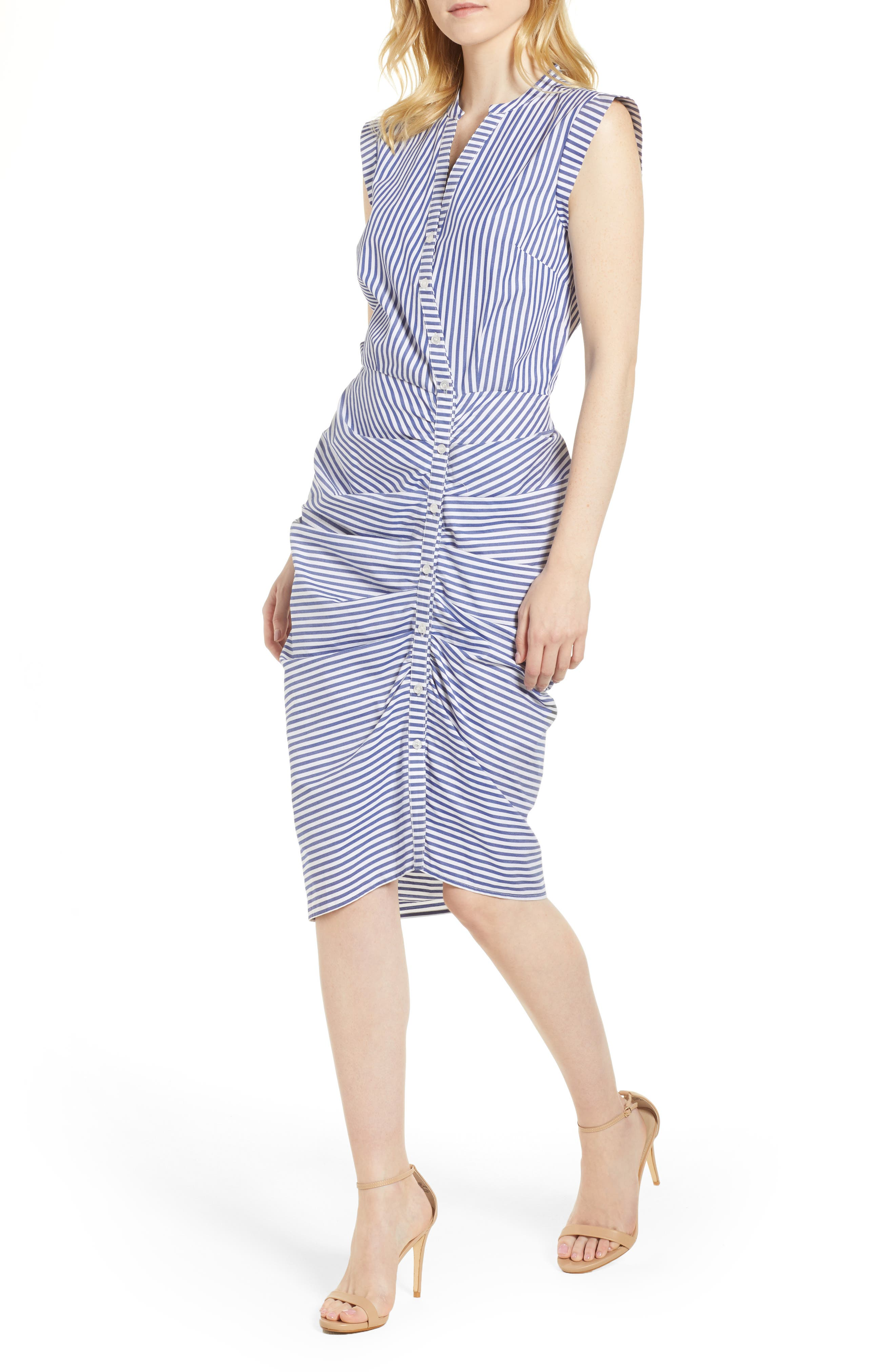 Stripe Ruched Cotton Shirtdress,                             Main thumbnail 1, color,                             400