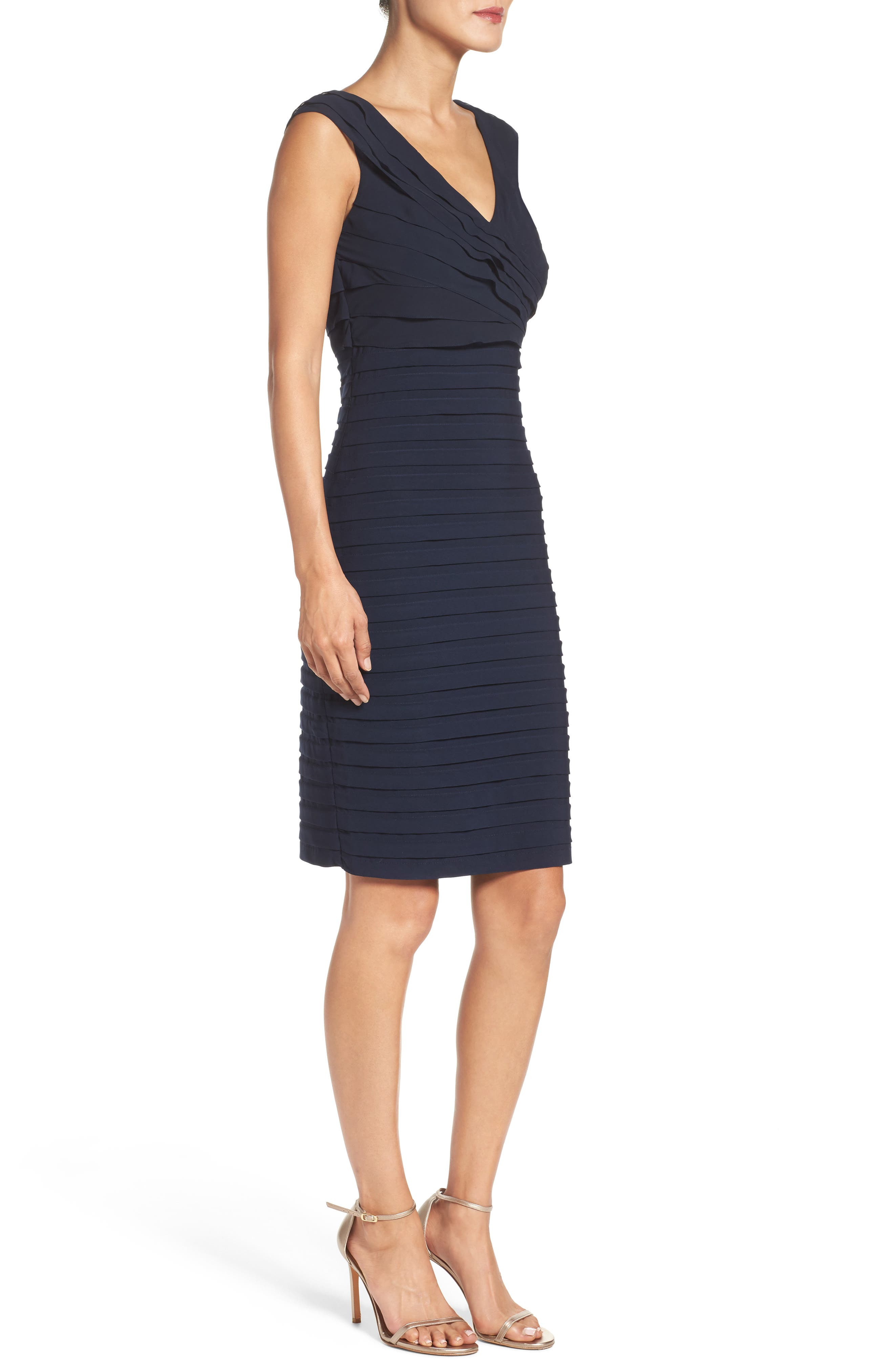 Chiffon & Jersey Sheath Dress,                             Alternate thumbnail 4, color,                             408