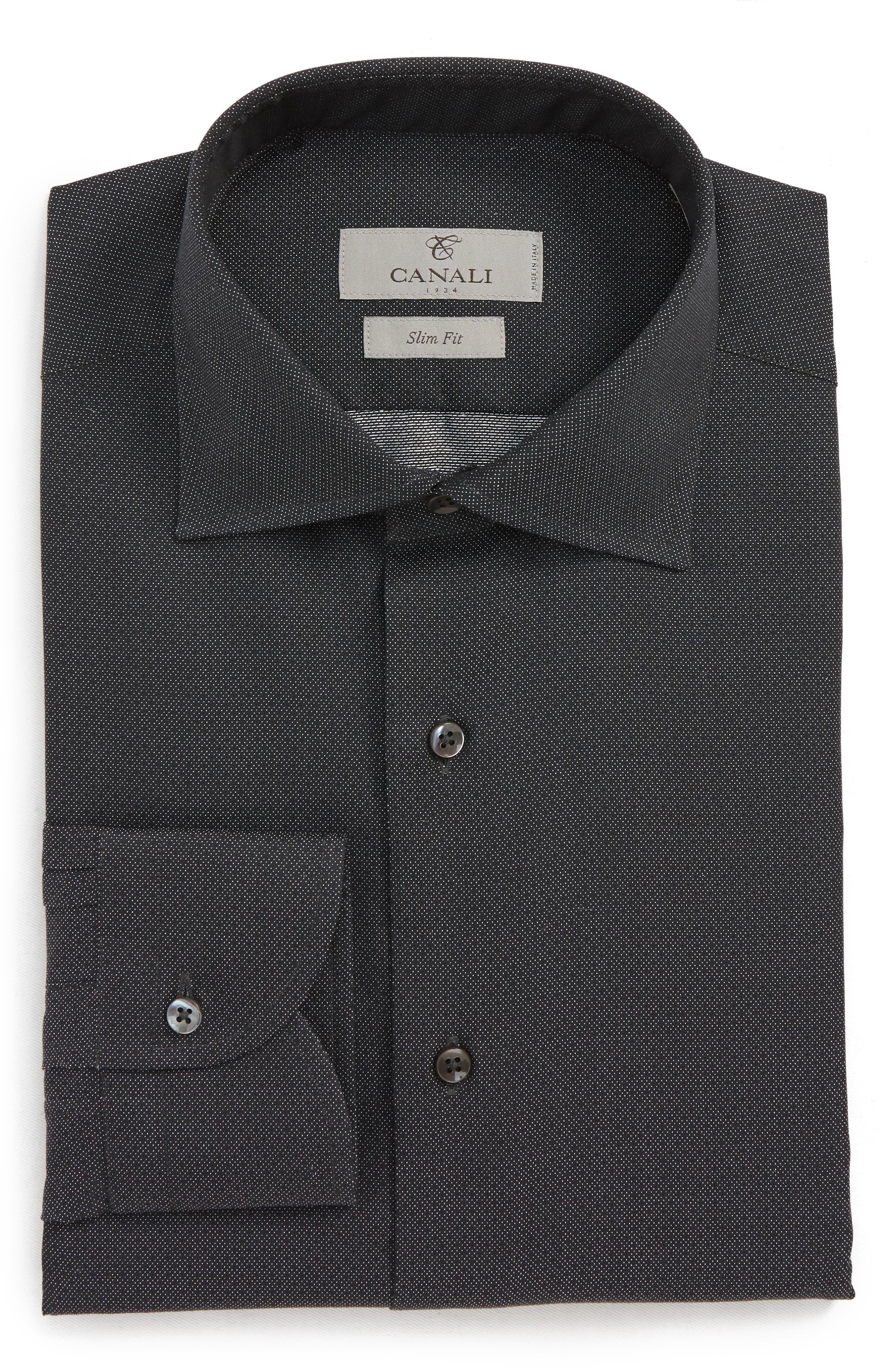 Slim Fit Print Dress Shirt,                         Main,                         color, BLACK