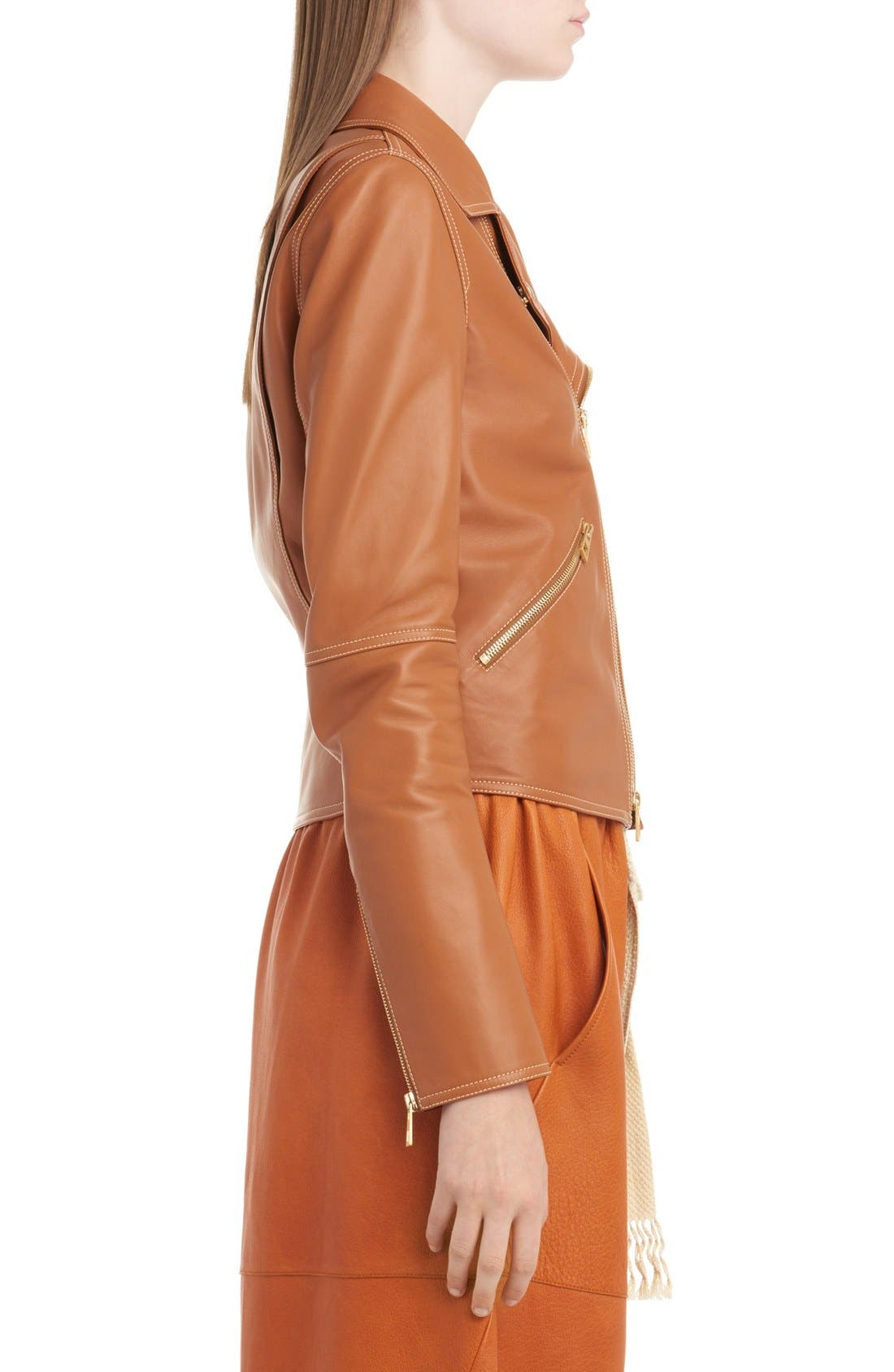 Nappa Leather Biker Jacket,                             Alternate thumbnail 4, color,