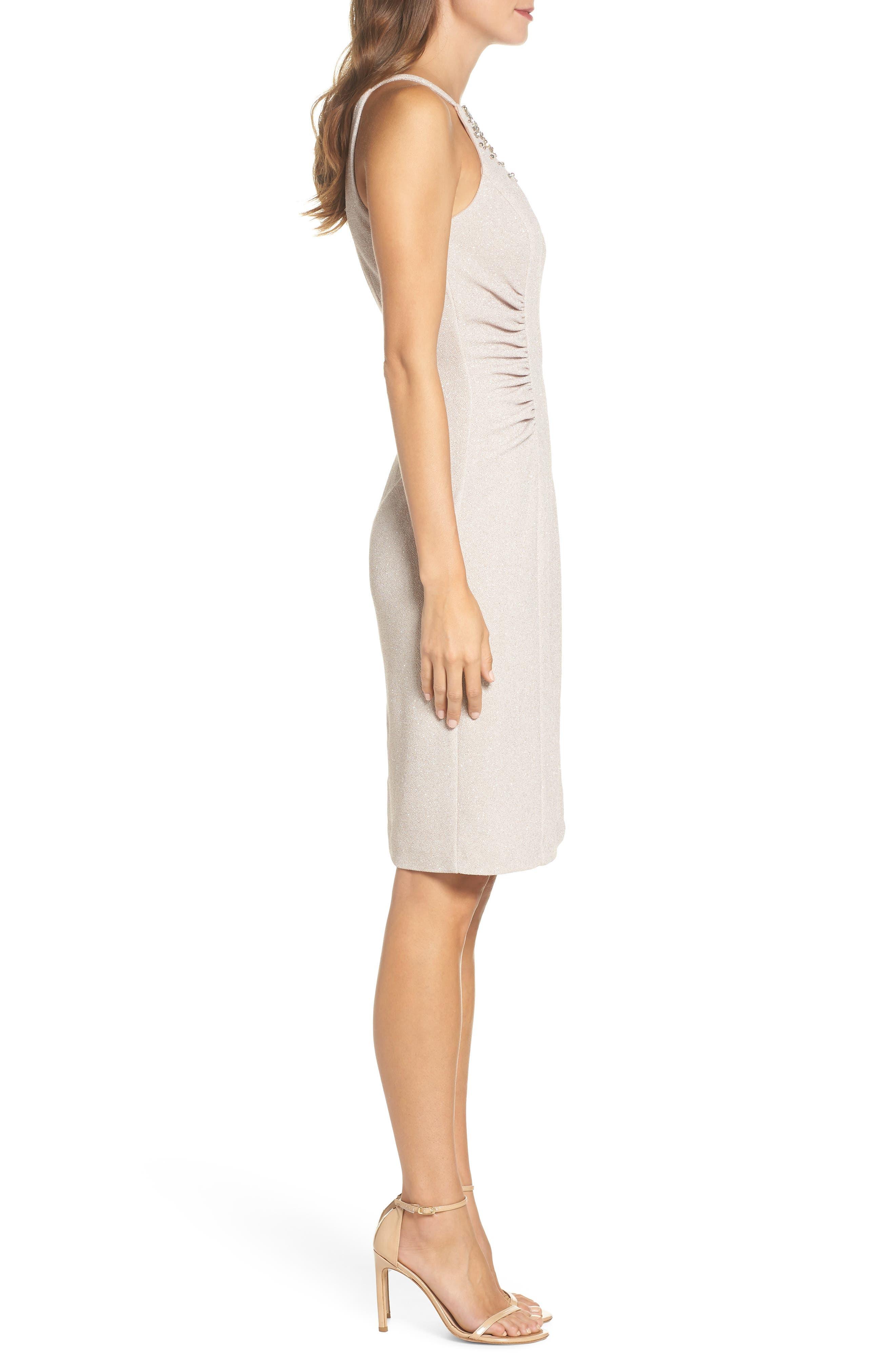 Glitter Knit Sheath Dress,                             Alternate thumbnail 3, color,