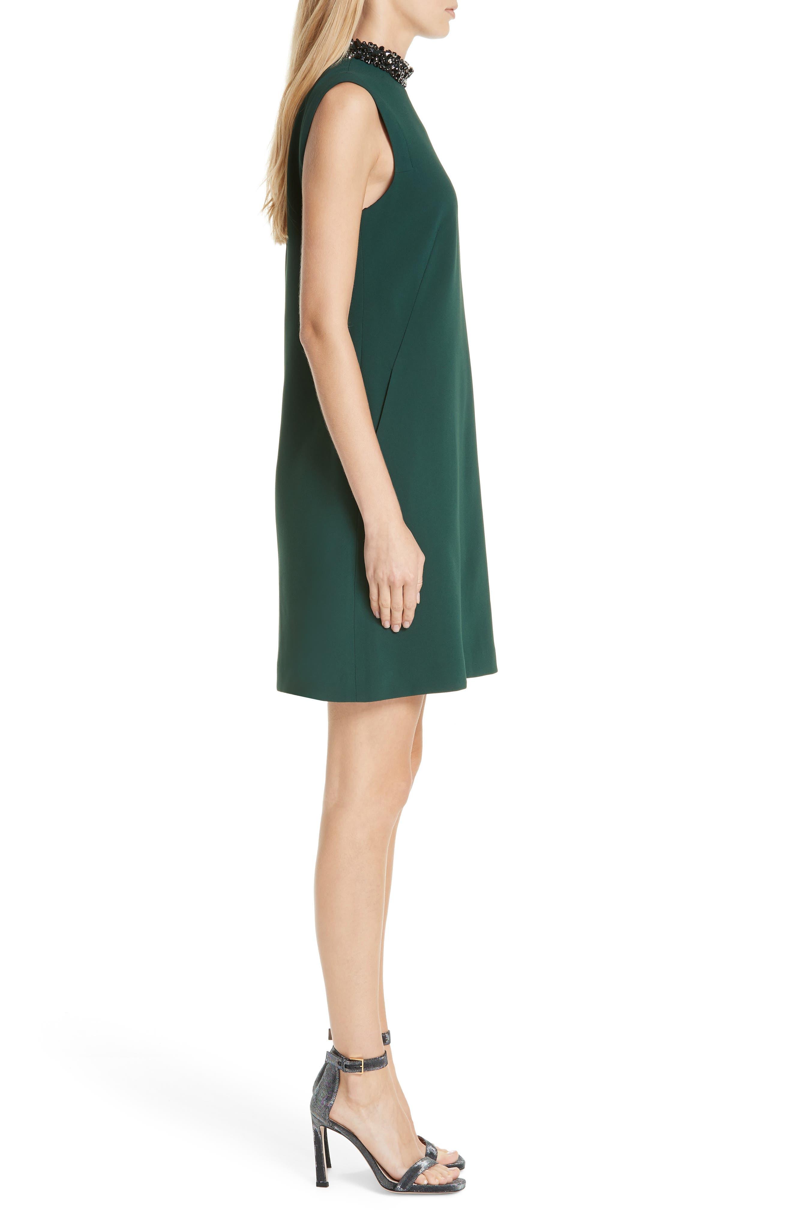 Verona Jewel Neck Dress,                             Alternate thumbnail 3, color,                             DK. GREEN