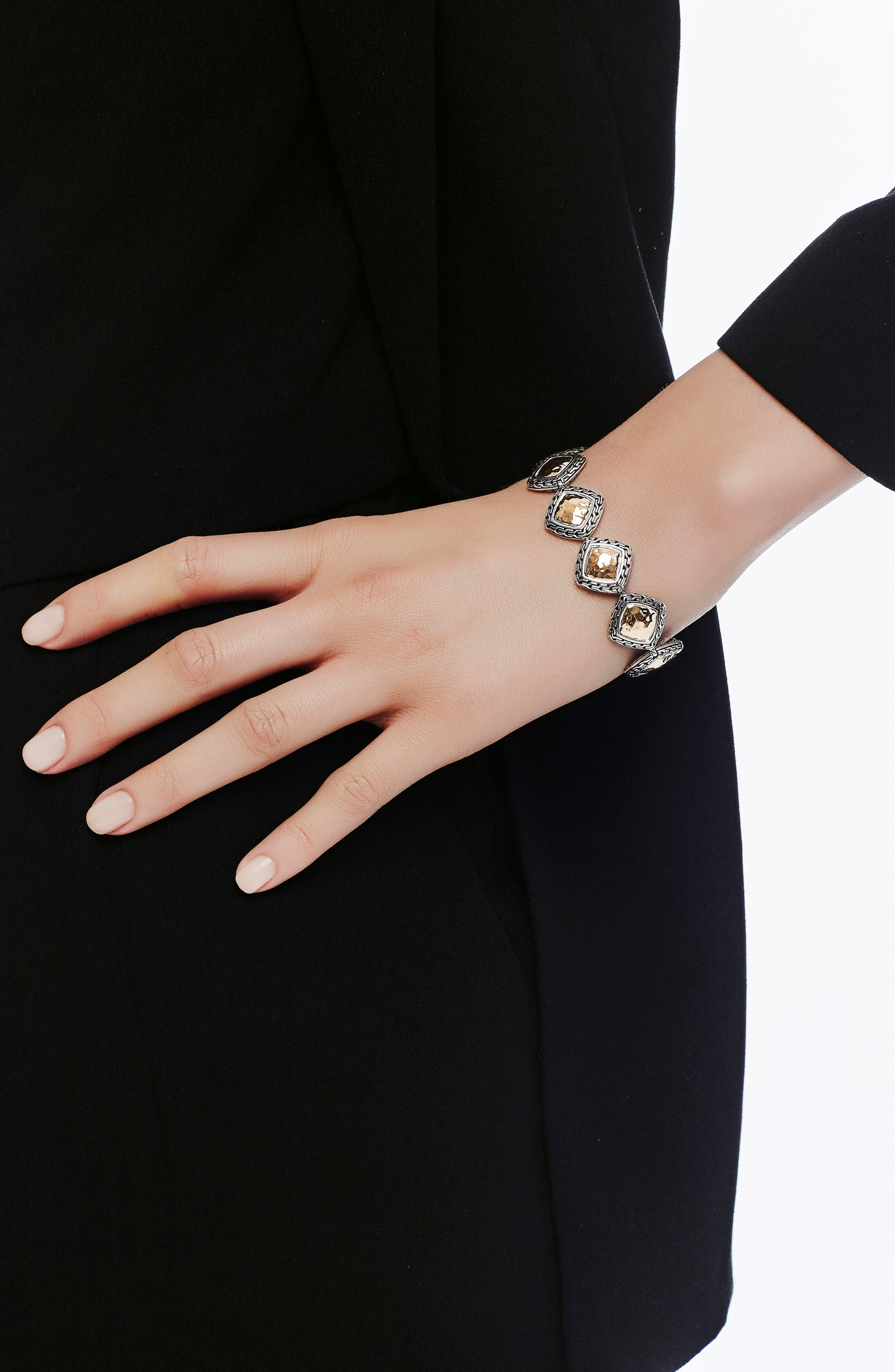 Classic Chain Heritage Quadrangle Bracelet,                             Alternate thumbnail 2, color,                             SILVER/ GOLD