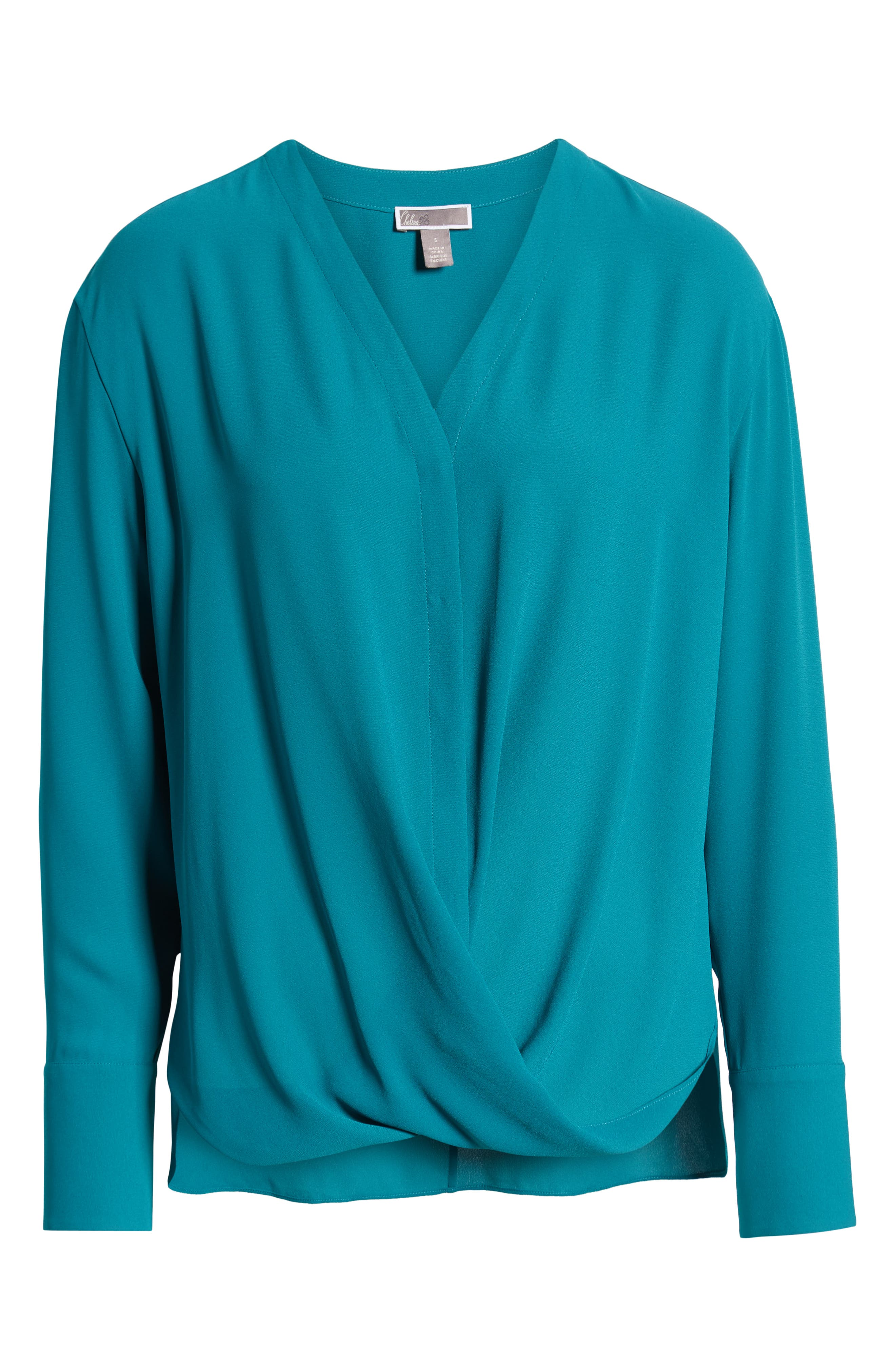 Drape Front Top,                             Alternate thumbnail 6, color,                             TEAL HARBOR