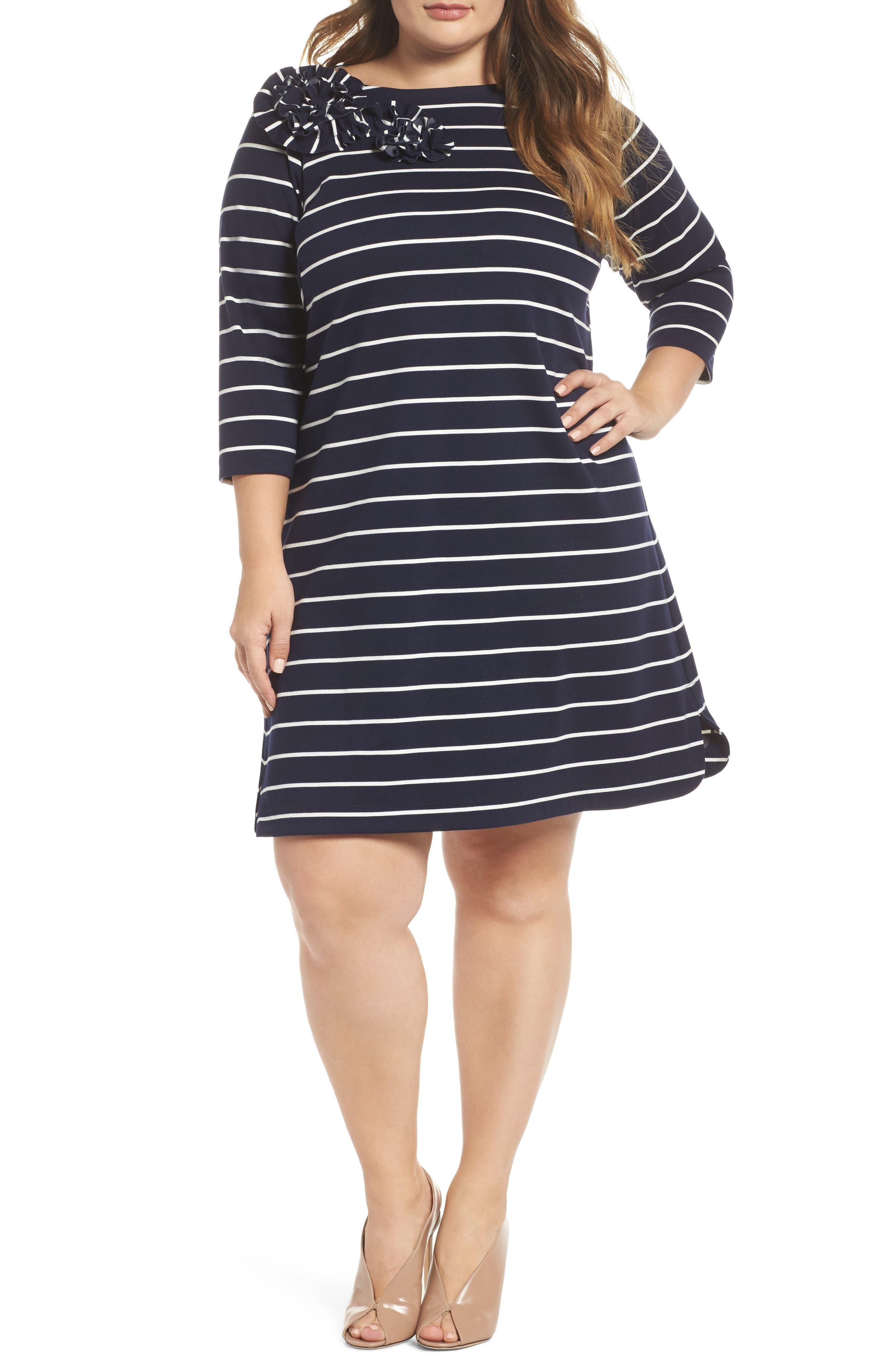 Plus Size Eliza J Flower Detail Stripe Jersey Shift Dress, Blue