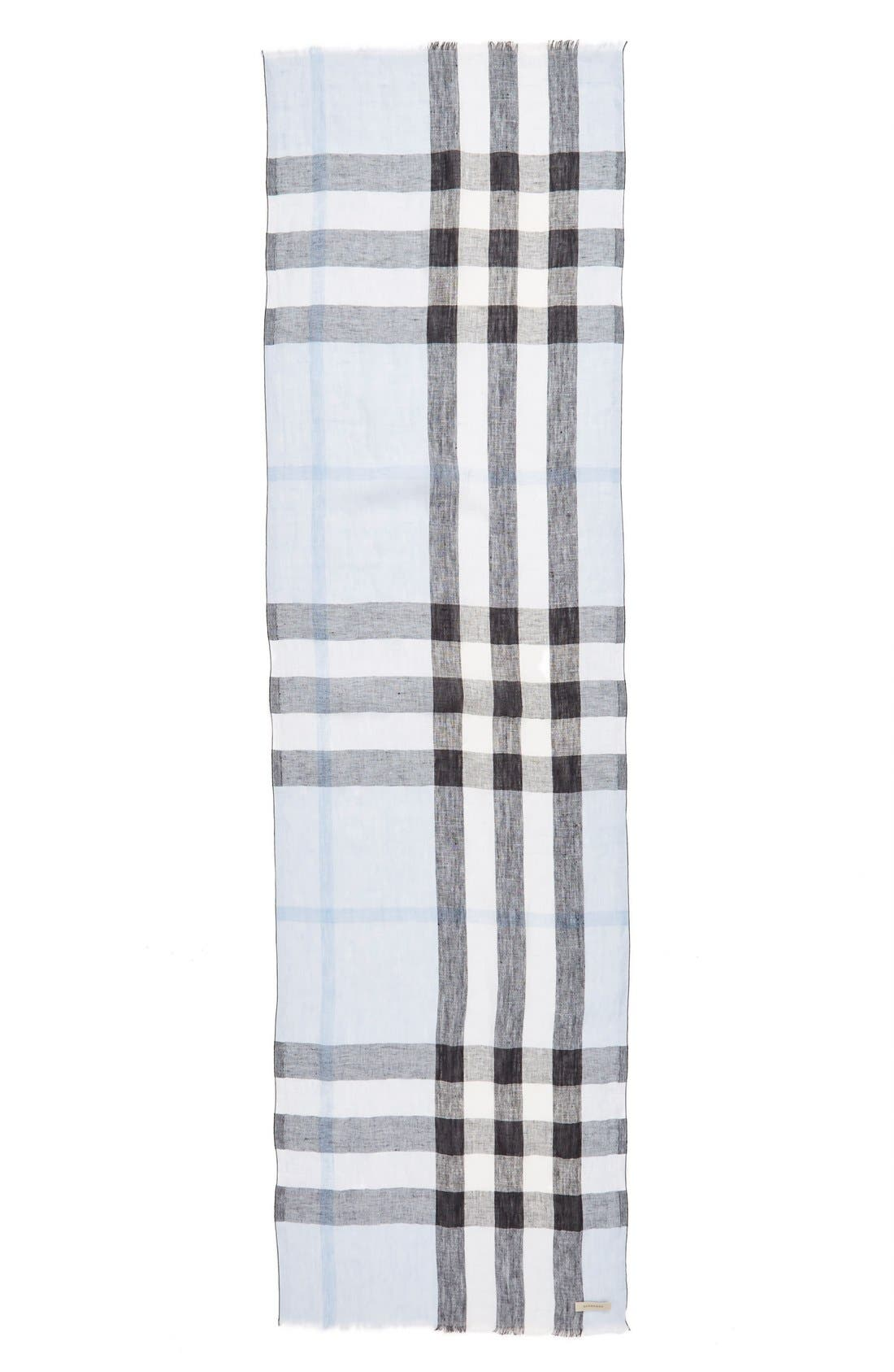 BURBERRY,                             Exploded Check Linen Scarf,                             Alternate thumbnail 2, color,                             451