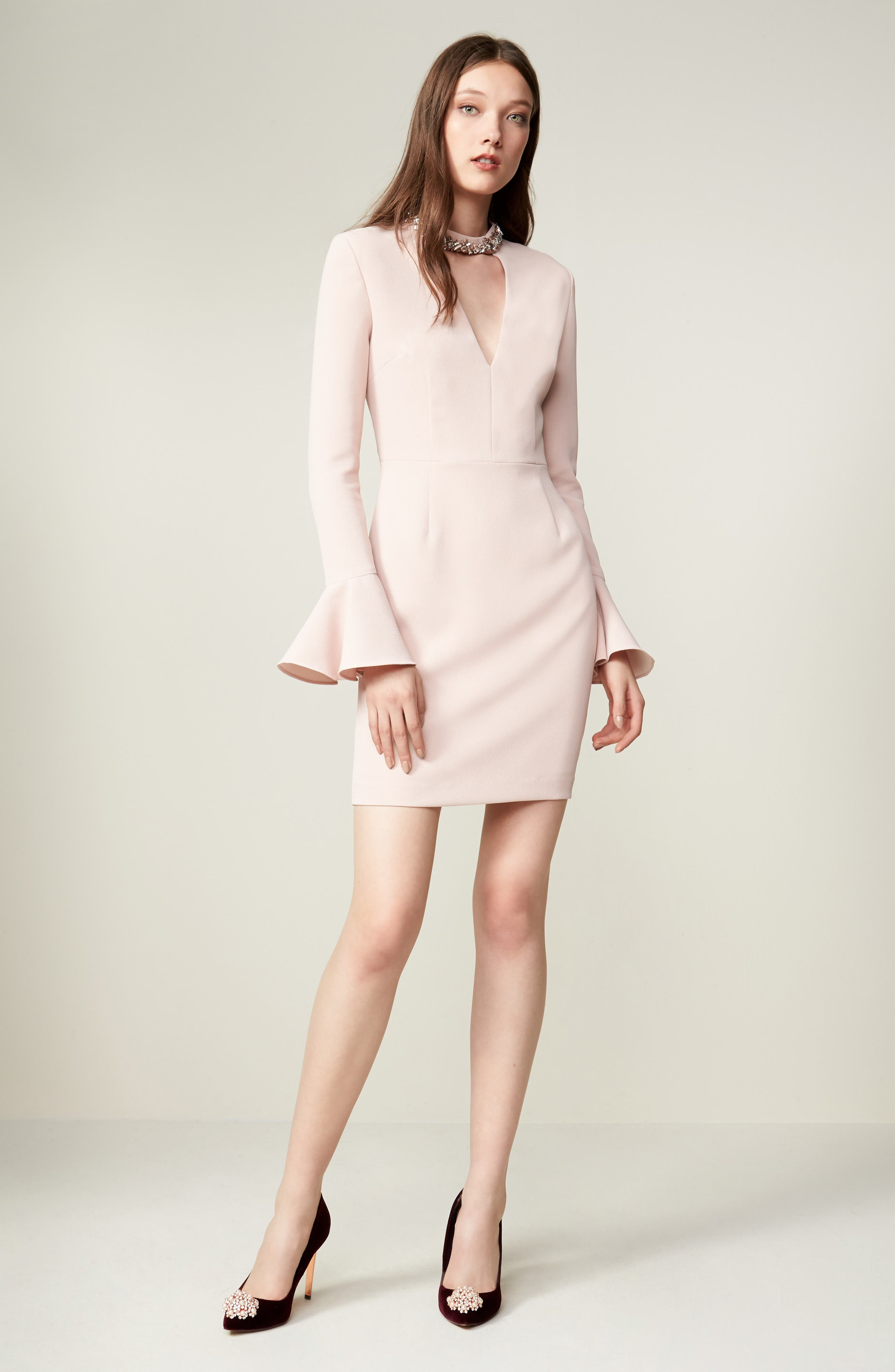 Crystal Choker Bell Sleeve Sheath Dress,                             Alternate thumbnail 14, color,