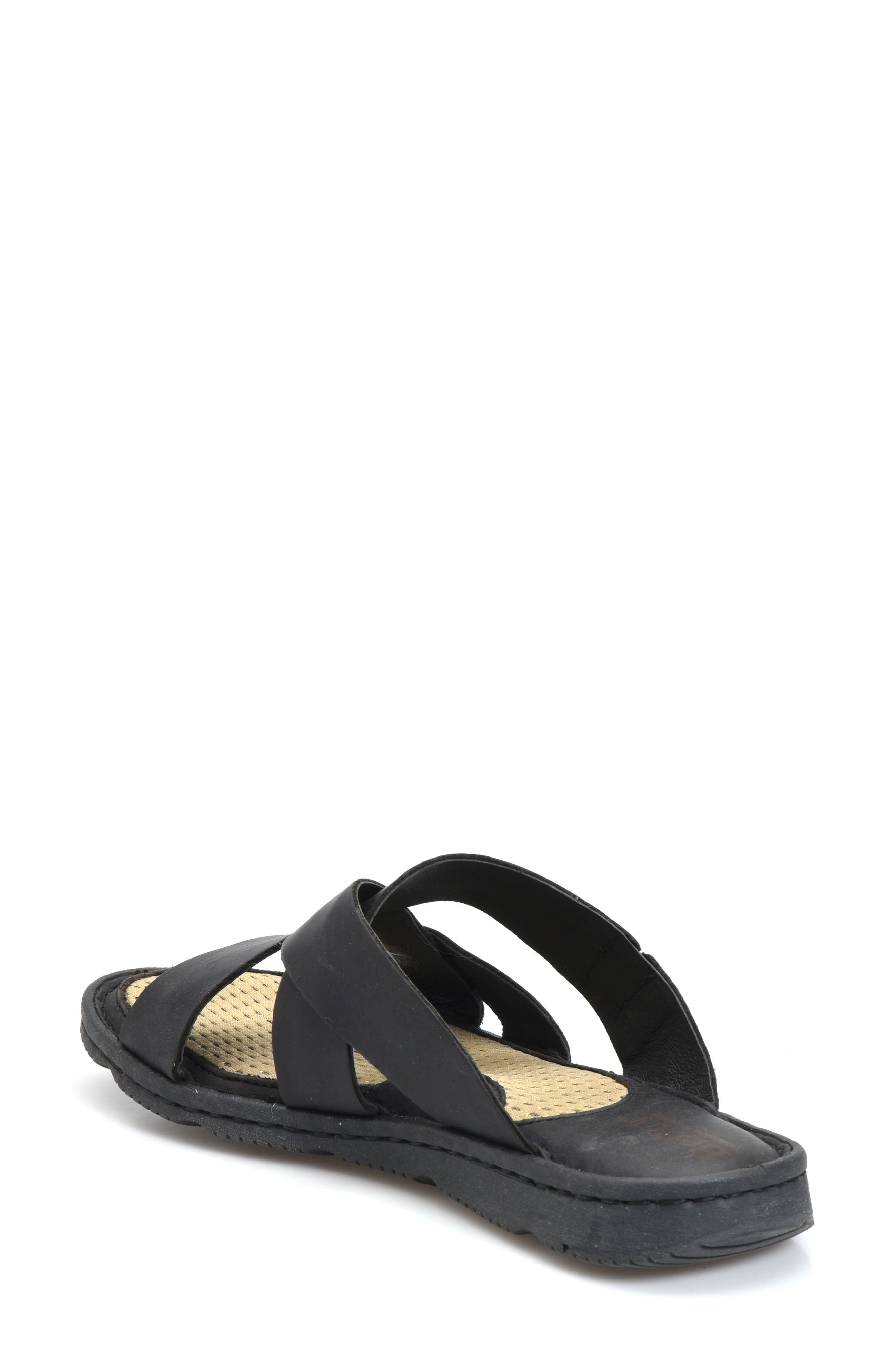 Hayka Asymmetrical Slide Sandal,                             Alternate thumbnail 2, color,                             BLACK LEATHER