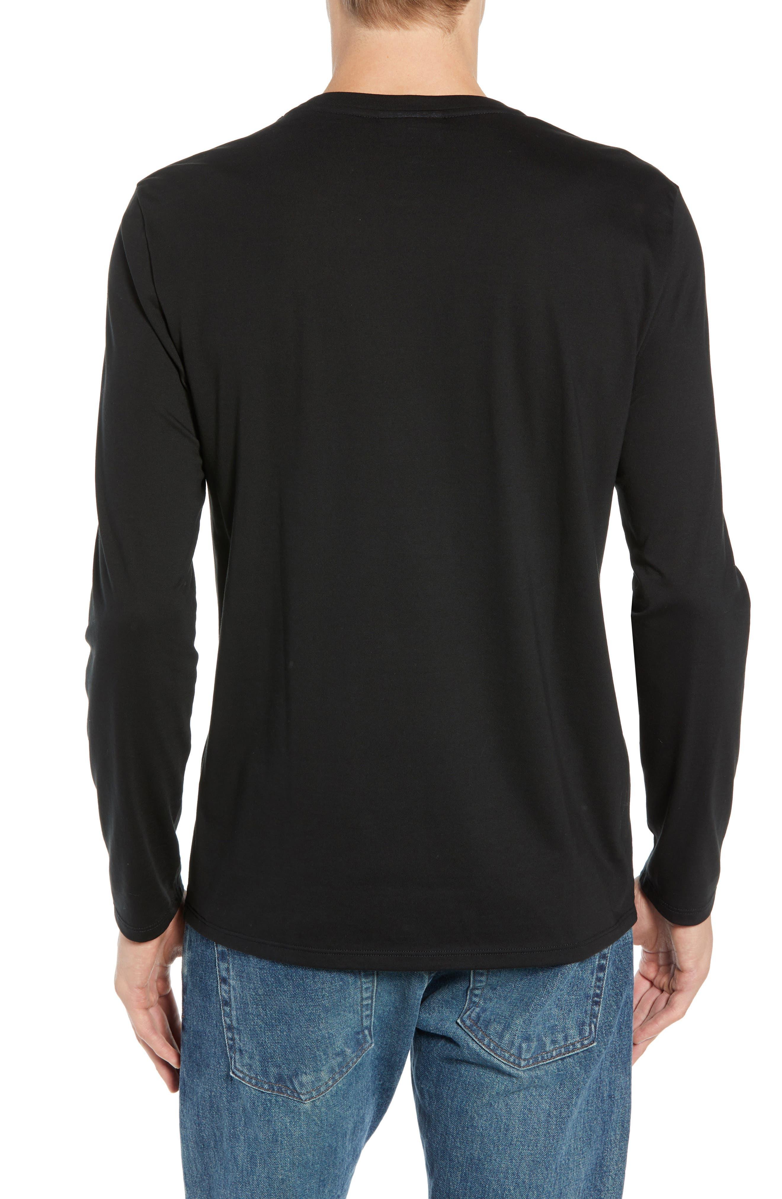 Long Sleeve Pima Cotton T-Shirt,                             Alternate thumbnail 2, color,                             BLACK