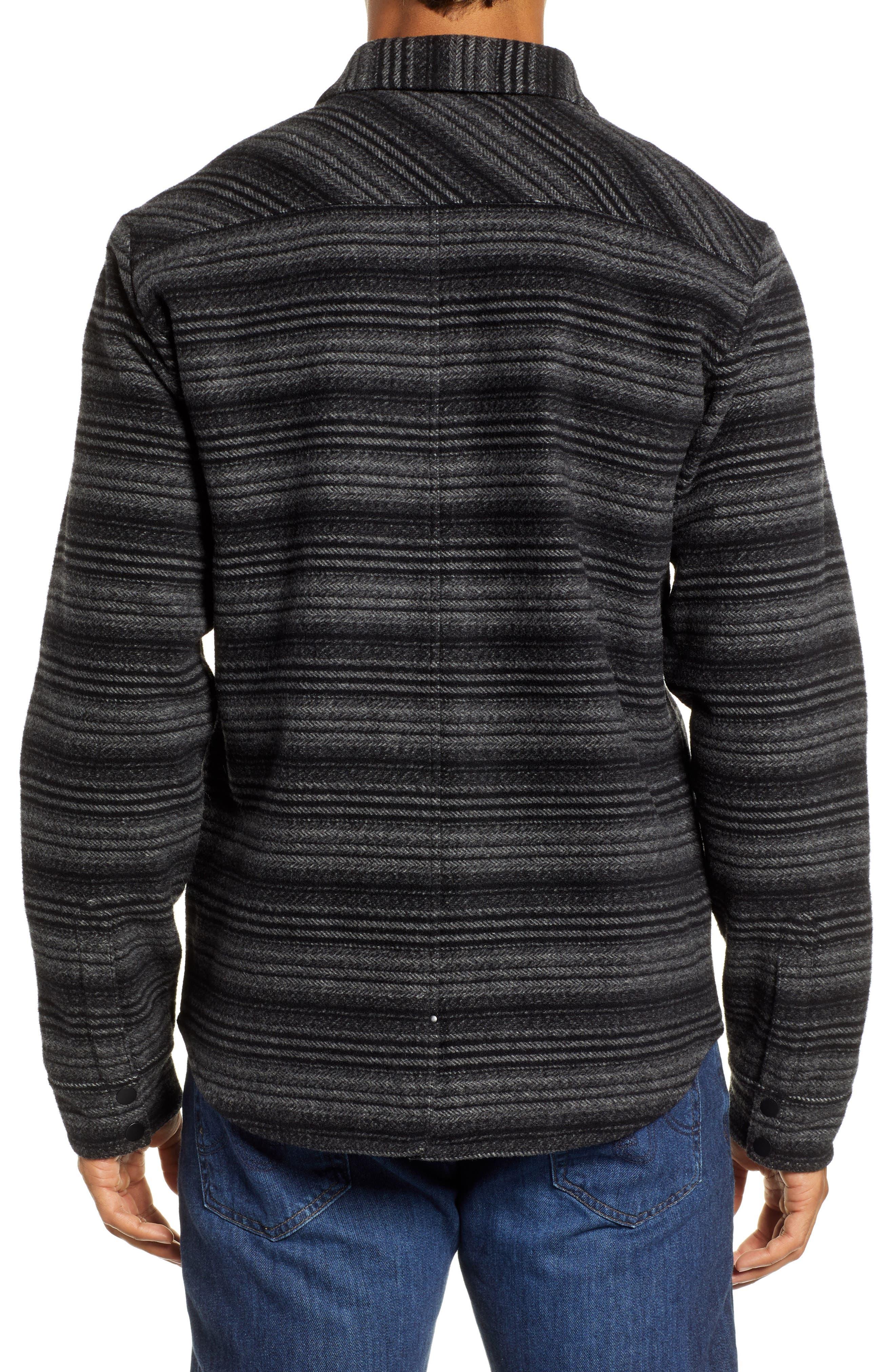 Anchor Line Flannel Shirt Jacket,                             Alternate thumbnail 3, color,                             MEDIUM GREY/ BLACK