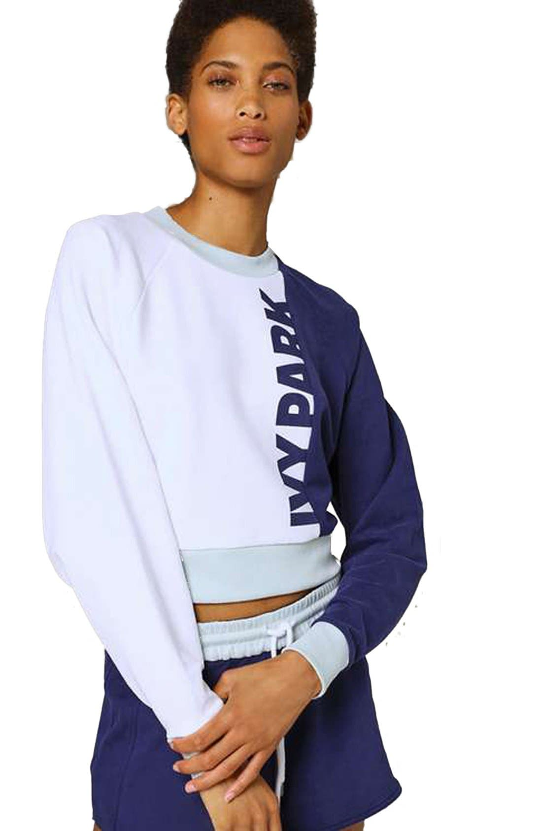 IVY PARK<SUP>®</SUP> Colorblock Peached Logo Sweatshirt, Main, color, 410