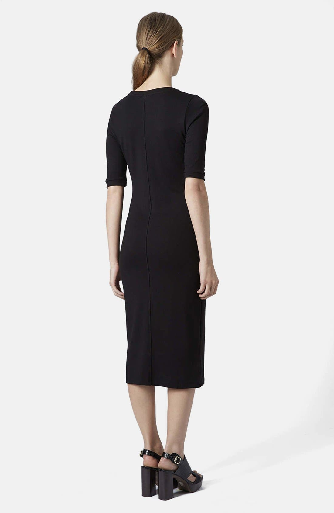 Body-Con Midi Dress,                             Alternate thumbnail 2, color,                             001
