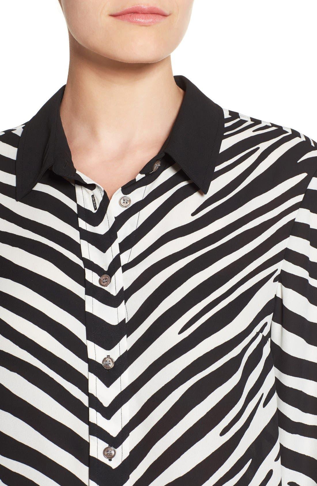 Zebra Stripe Long Sleeve Blouse,                             Alternate thumbnail 4, color,                             006