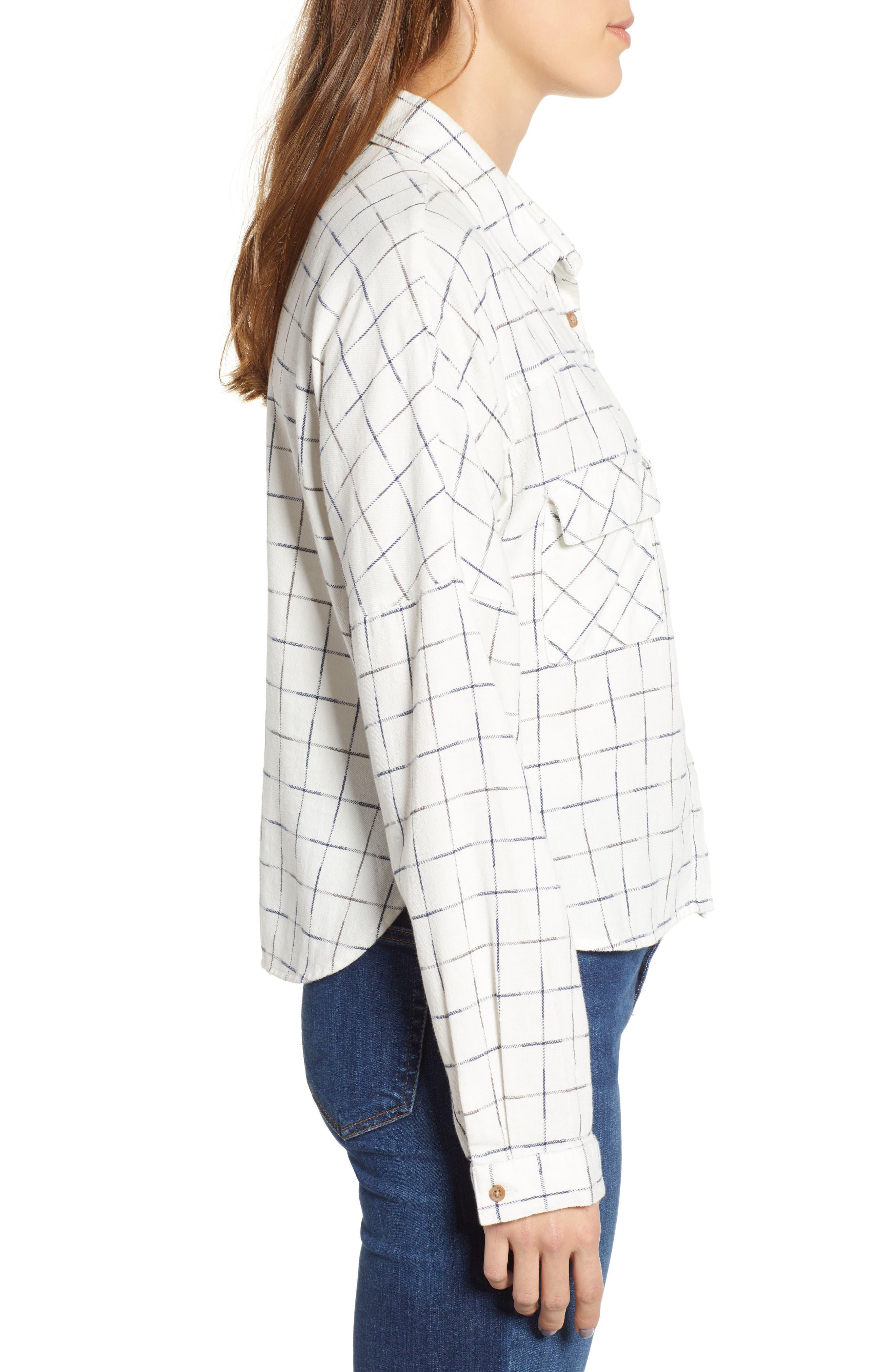 Check Flannel Shirt,                             Alternate thumbnail 3, color,                             NAVY/ WHITE GRID