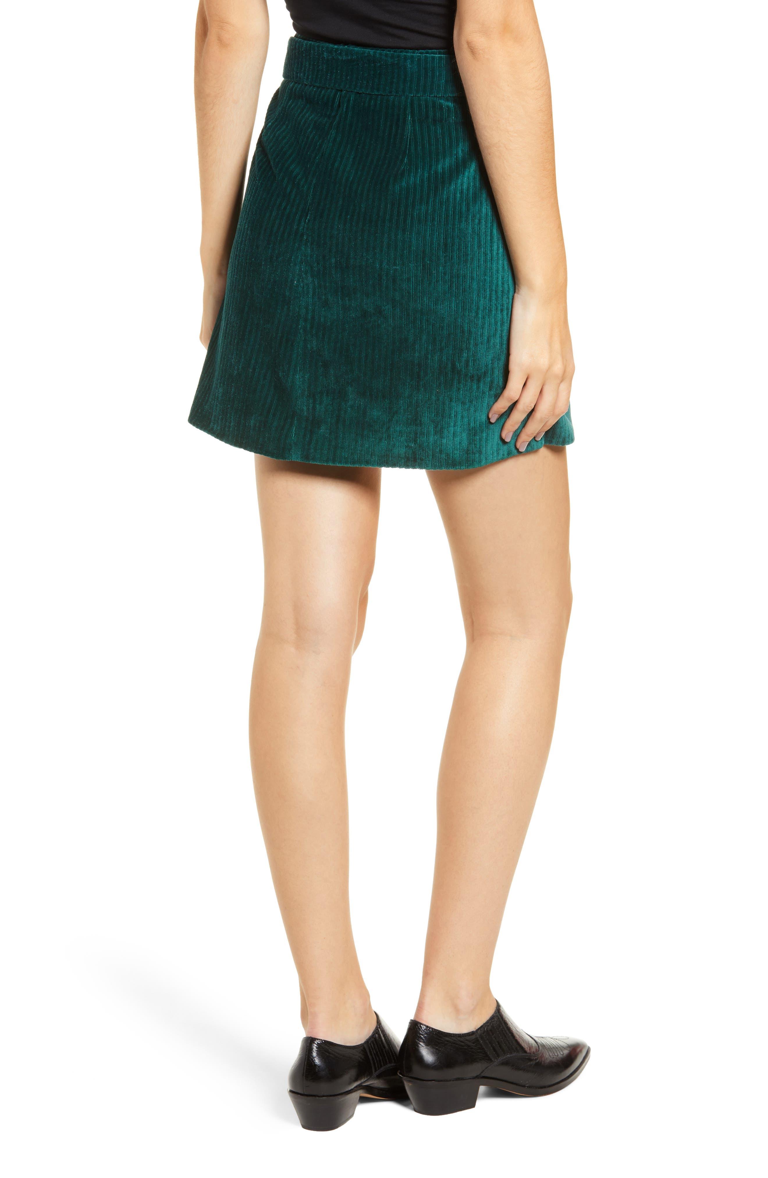 Velour Tie Waist Skirt,                             Alternate thumbnail 2, color,                             PINE