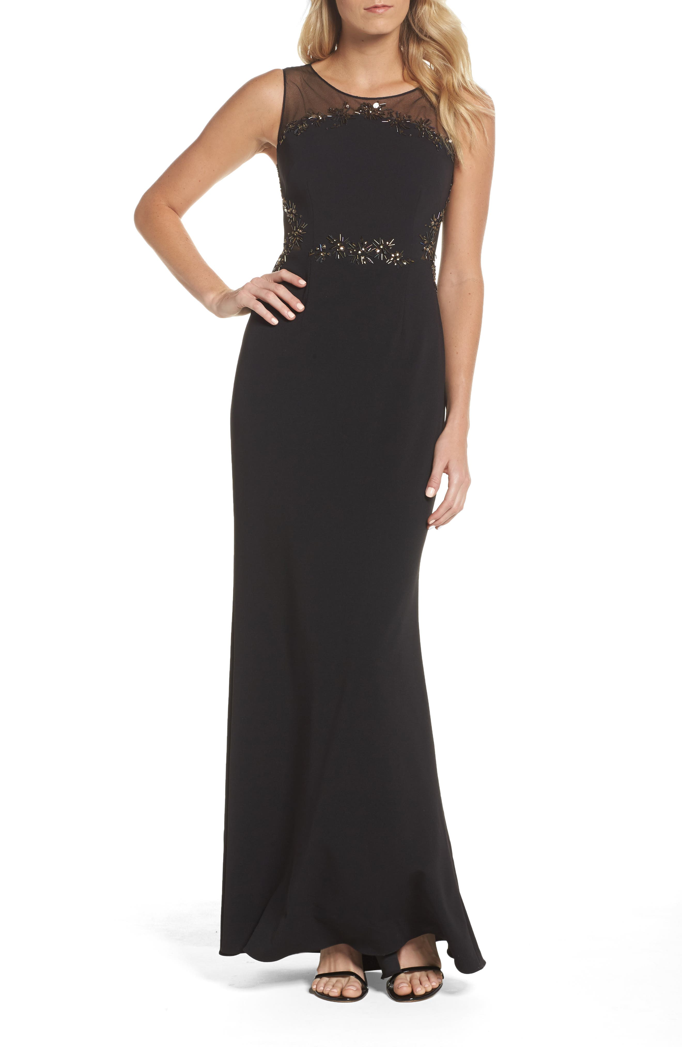 Embellished Knit Crepe Gown,                             Main thumbnail 1, color,                             002