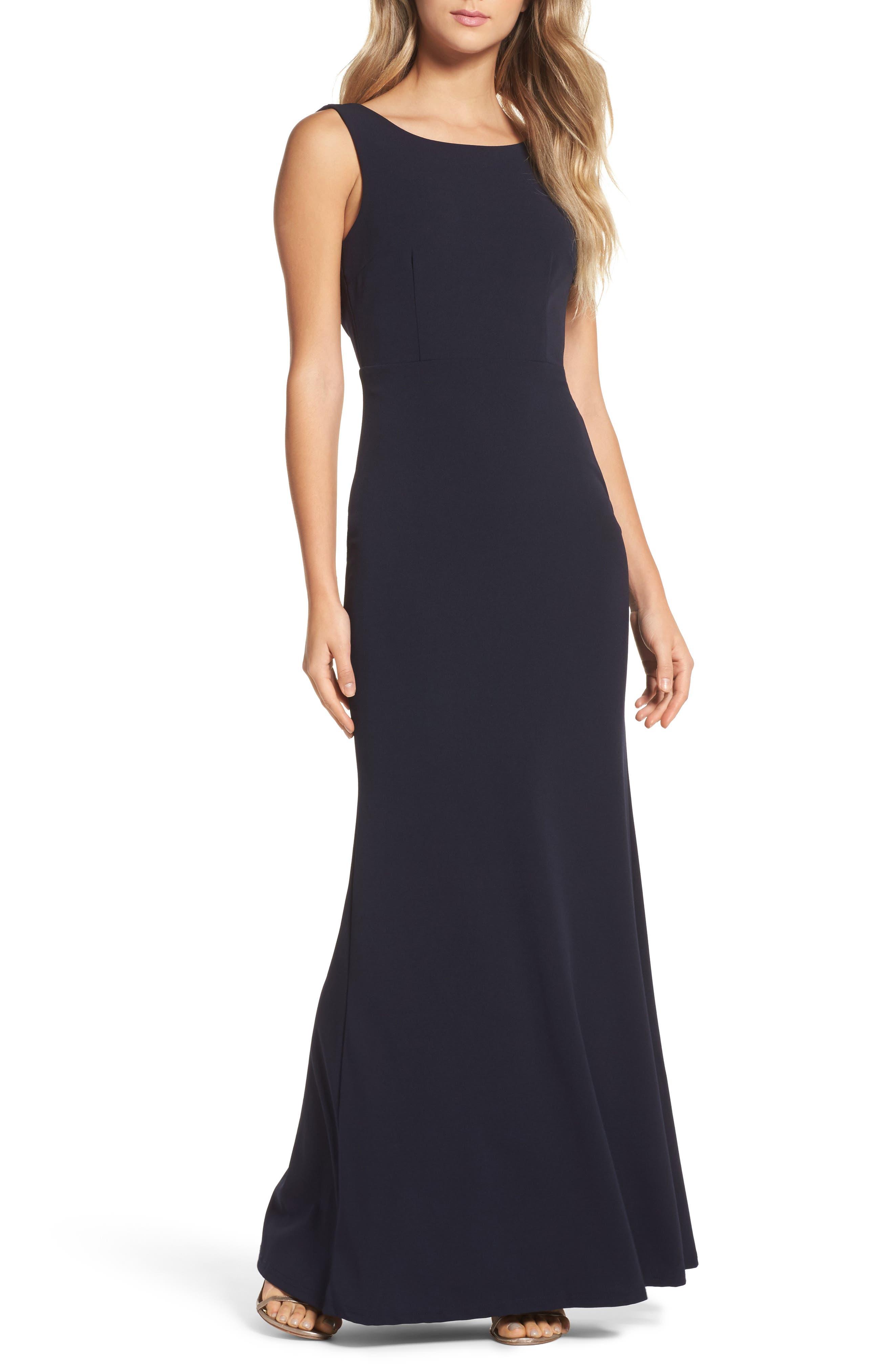 Lulus Drape Back Trumpet Gown, Blue