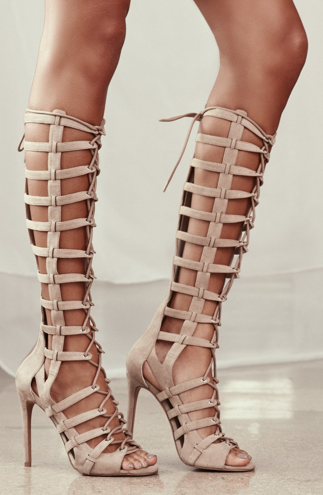 'Emily' Tall Gladiator Sandal,                             Alternate thumbnail 5, color,                             001