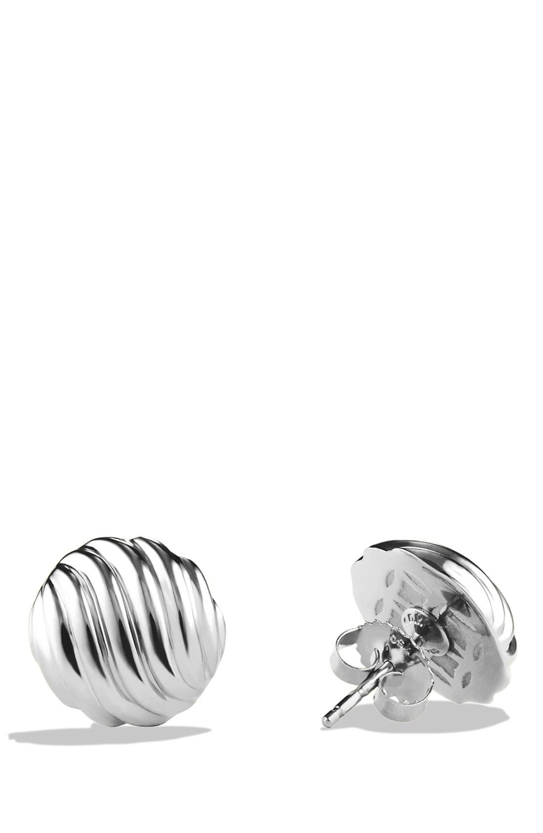 'Sculpted Cable' Earrings,                             Alternate thumbnail 3, color,                             SILVER