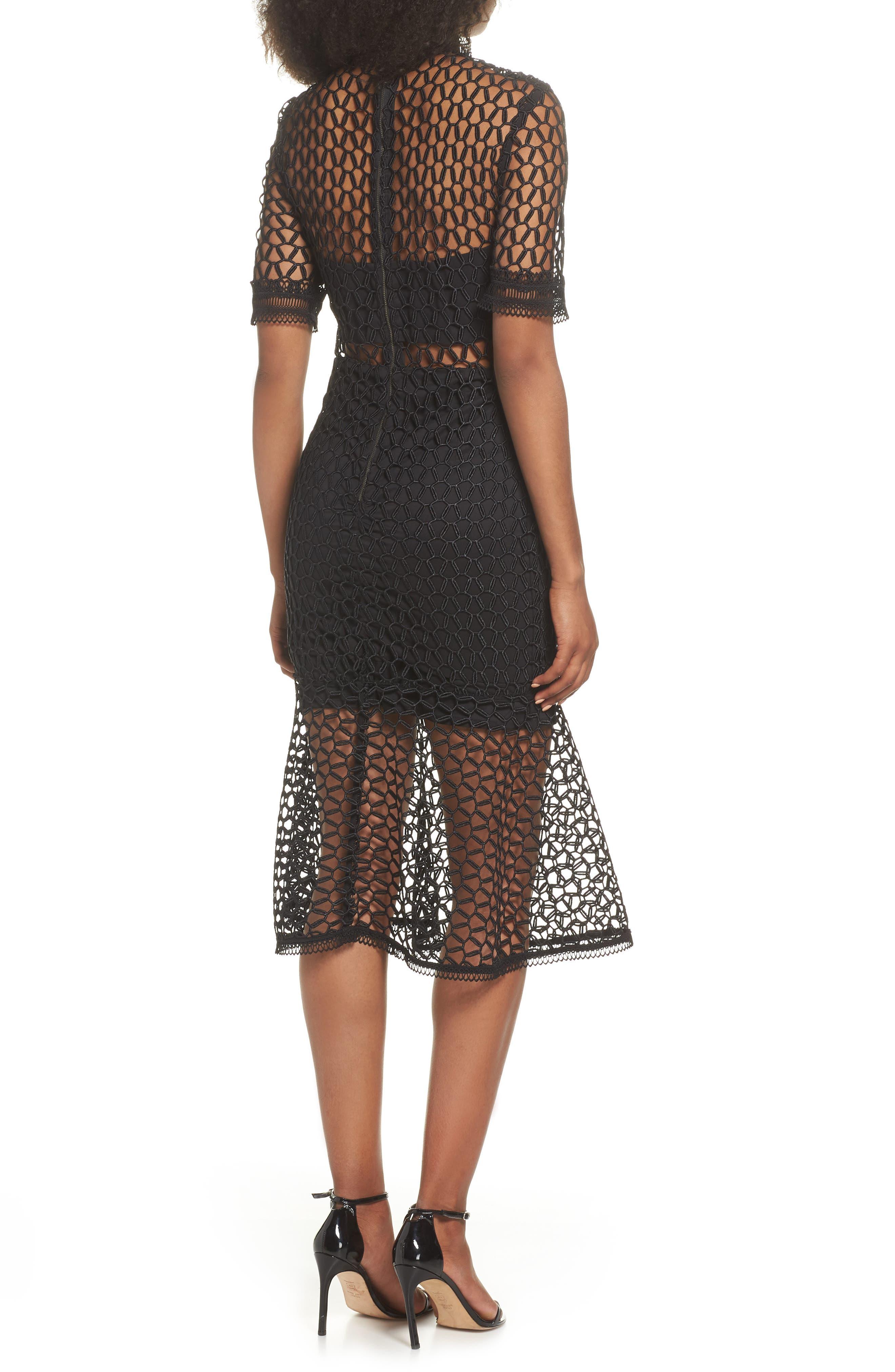 Fiona Mesh Lace Trumpet Dress,                             Alternate thumbnail 2, color,                             BLACK