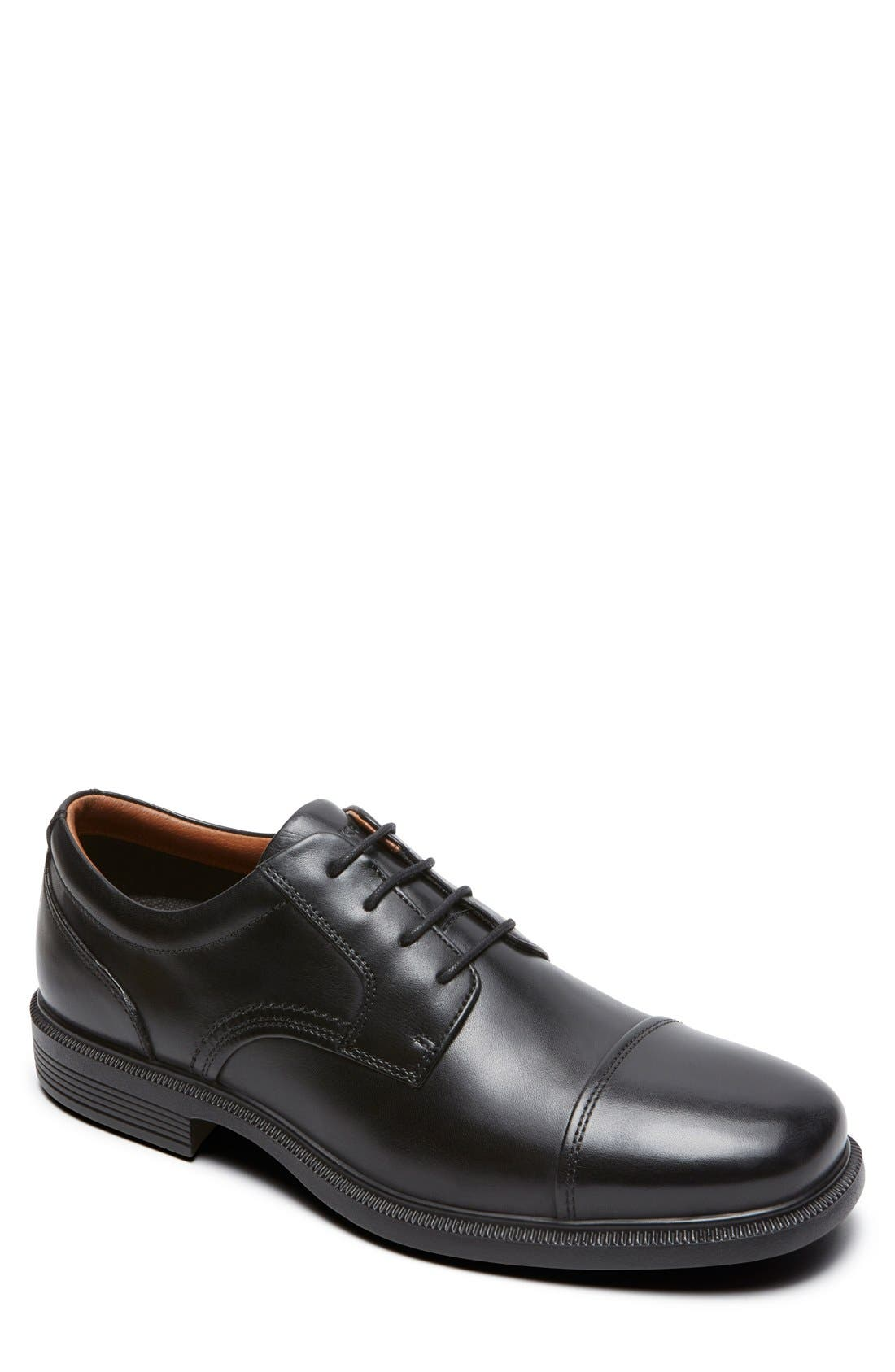 'DresSports Luxe' Cap Toe Derby,                             Main thumbnail 1, color,                             BLACK