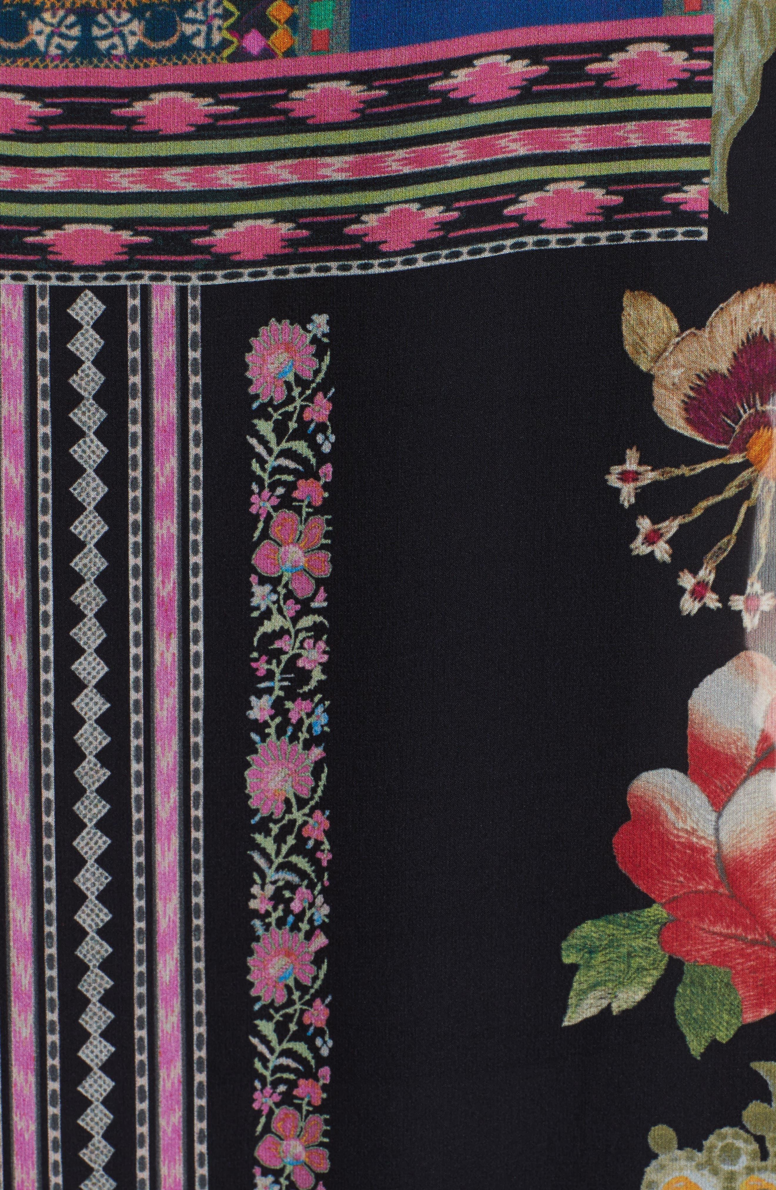 Fringe Trim Floral Print Silk Poncho,                             Alternate thumbnail 5, color,                             650