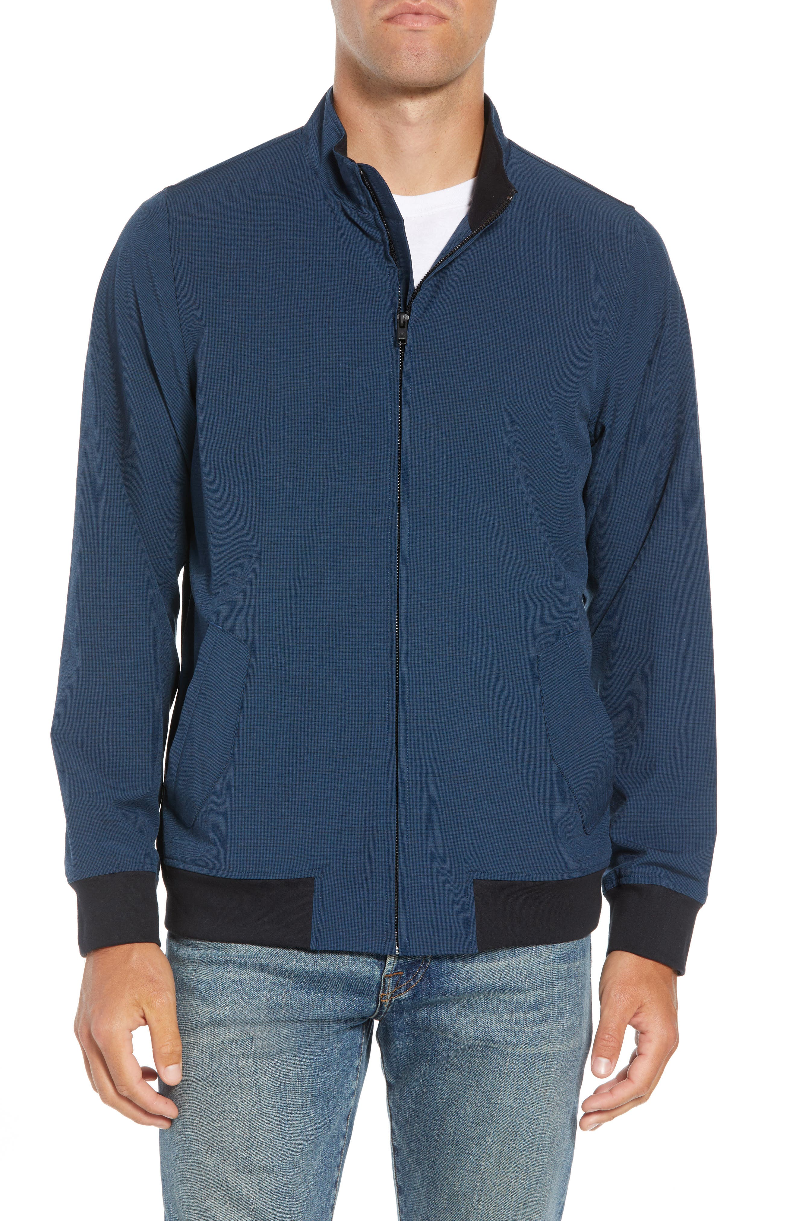 Ridgley Regular Fit Jacket,                             Alternate thumbnail 4, color,                             BLUE WING TEAL/ BLACK