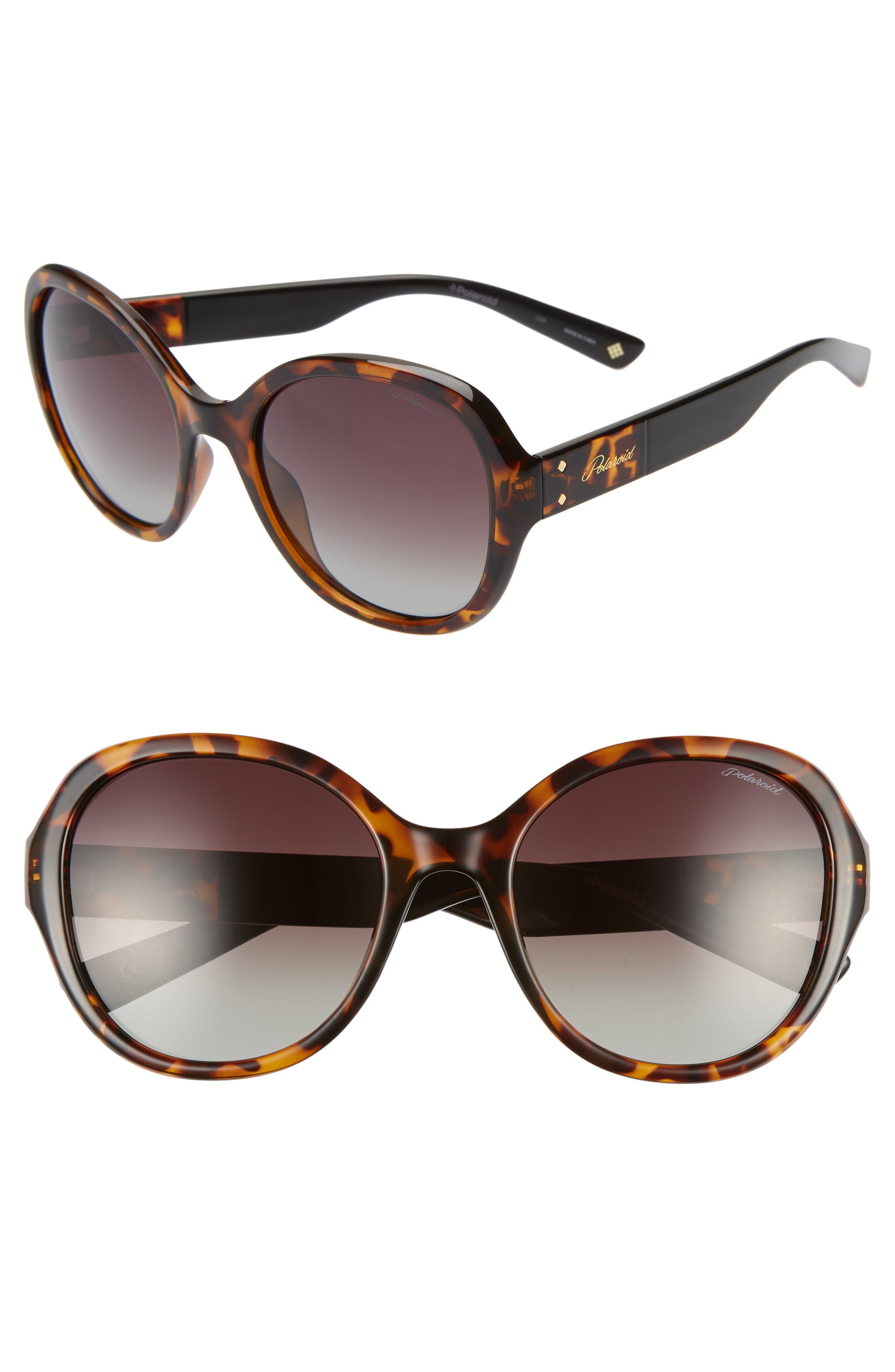 Polaroid 55Mm Polarized Round Sunglasses - Dark Havana