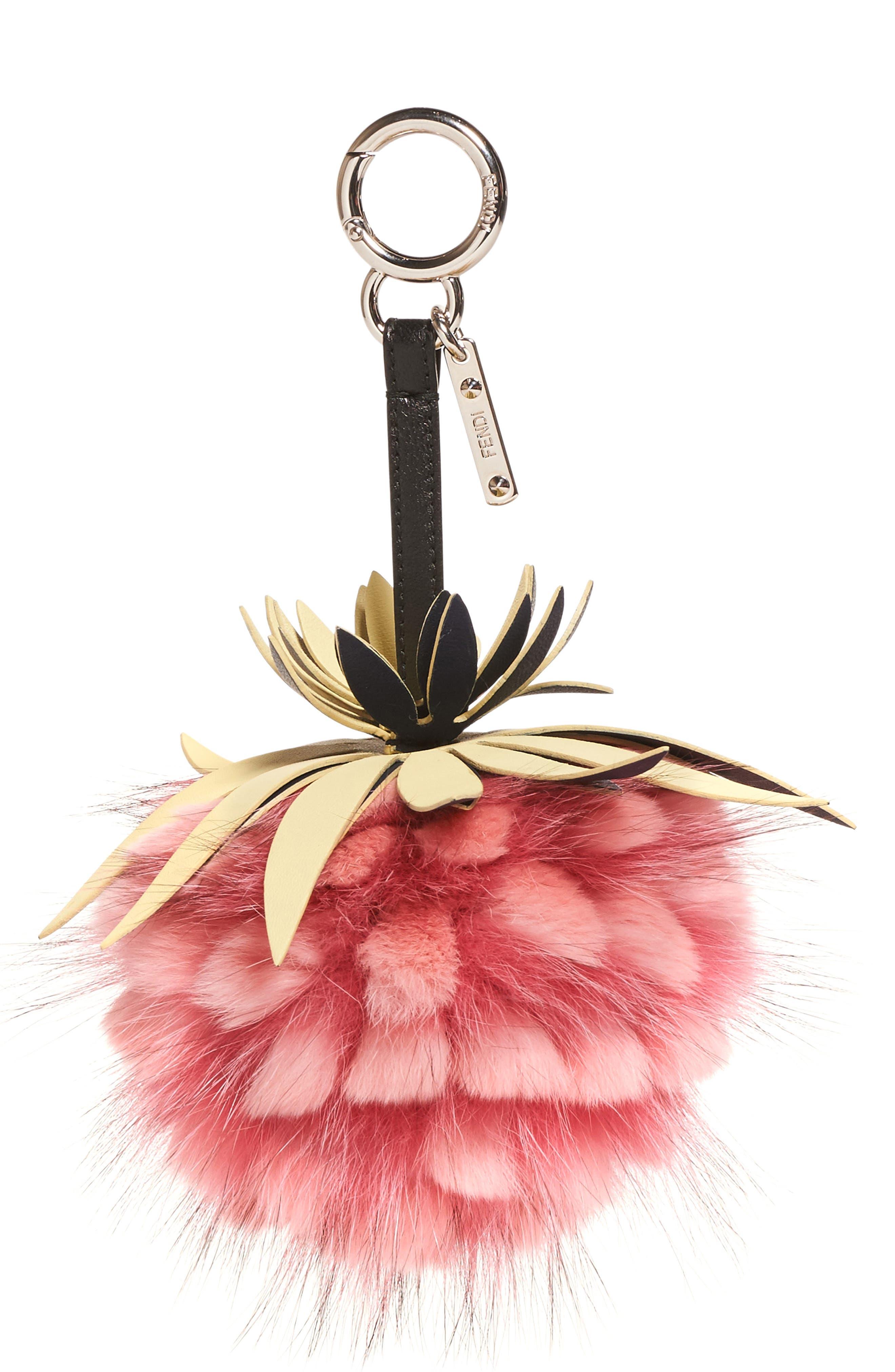 Pineapple Genuine Fox & Rabbit Fur Bag Charm,                         Main,                         color, 662