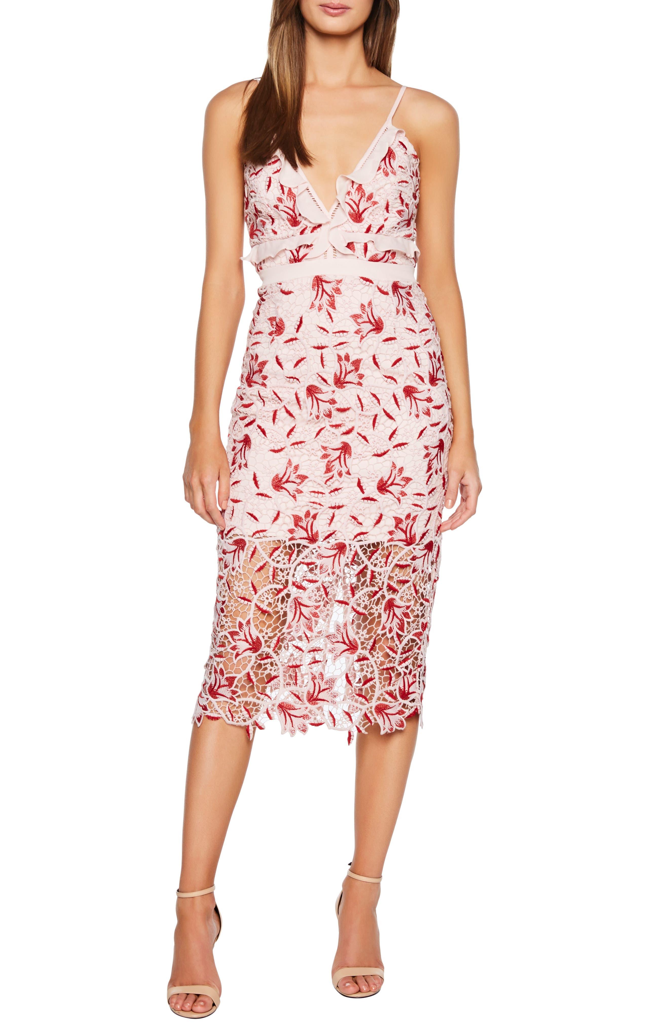Bardot Coco Lace Dress, Red