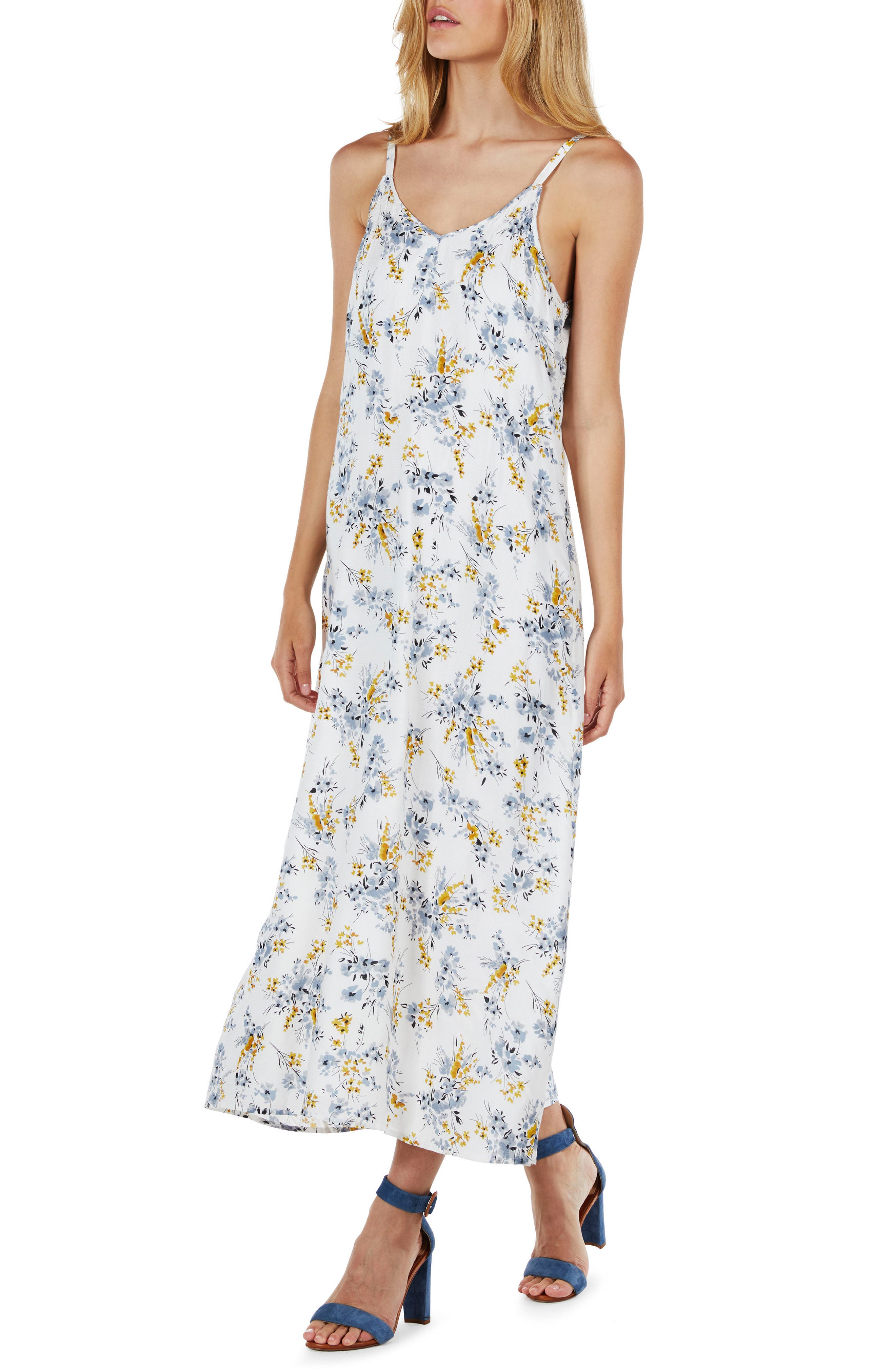 Floral Maxi Dress,                             Alternate thumbnail 3, color,                             722