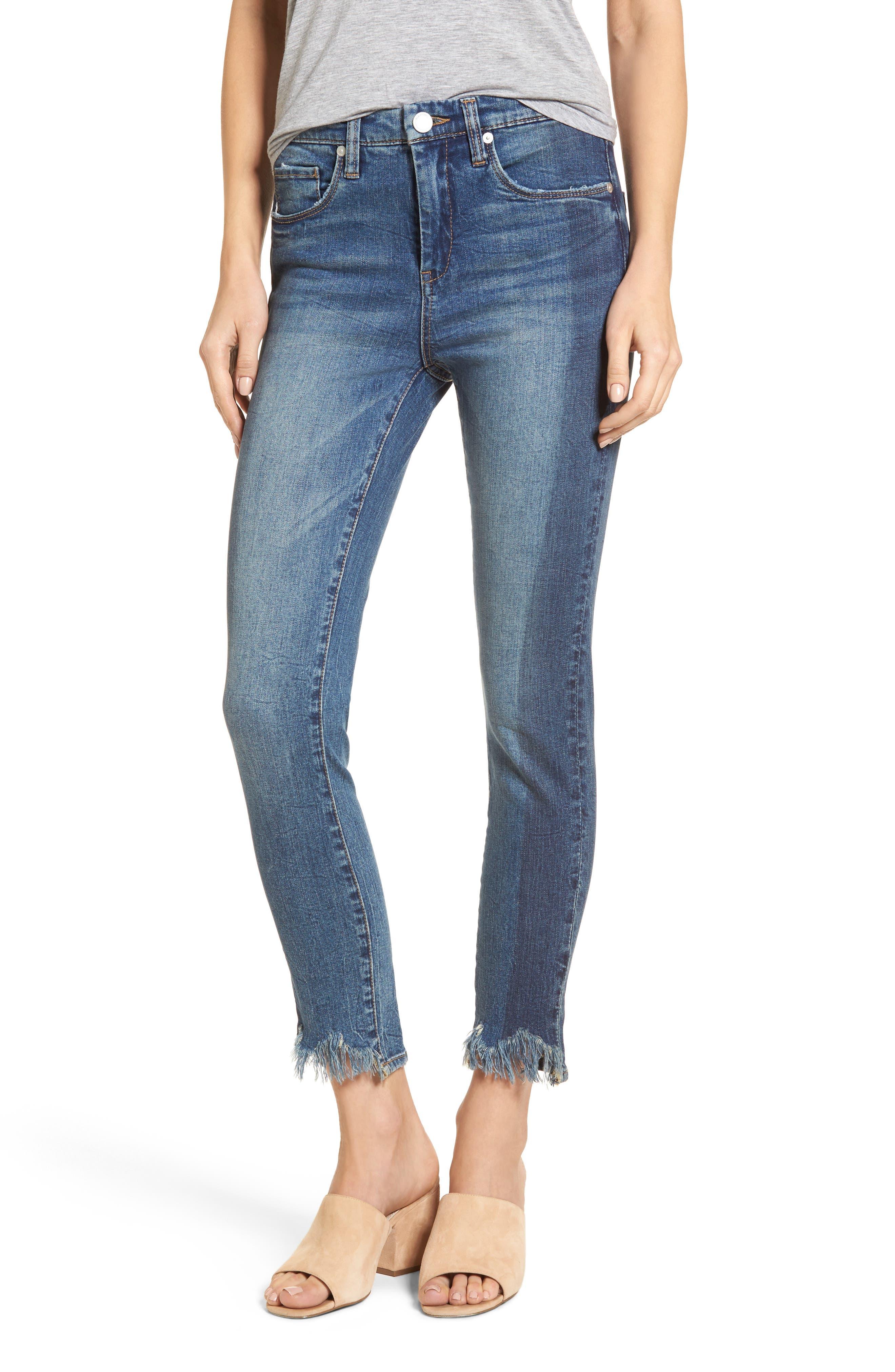 Cry Baby Raw Hem High Waist Skinny Jeans,                         Main,                         color, 400