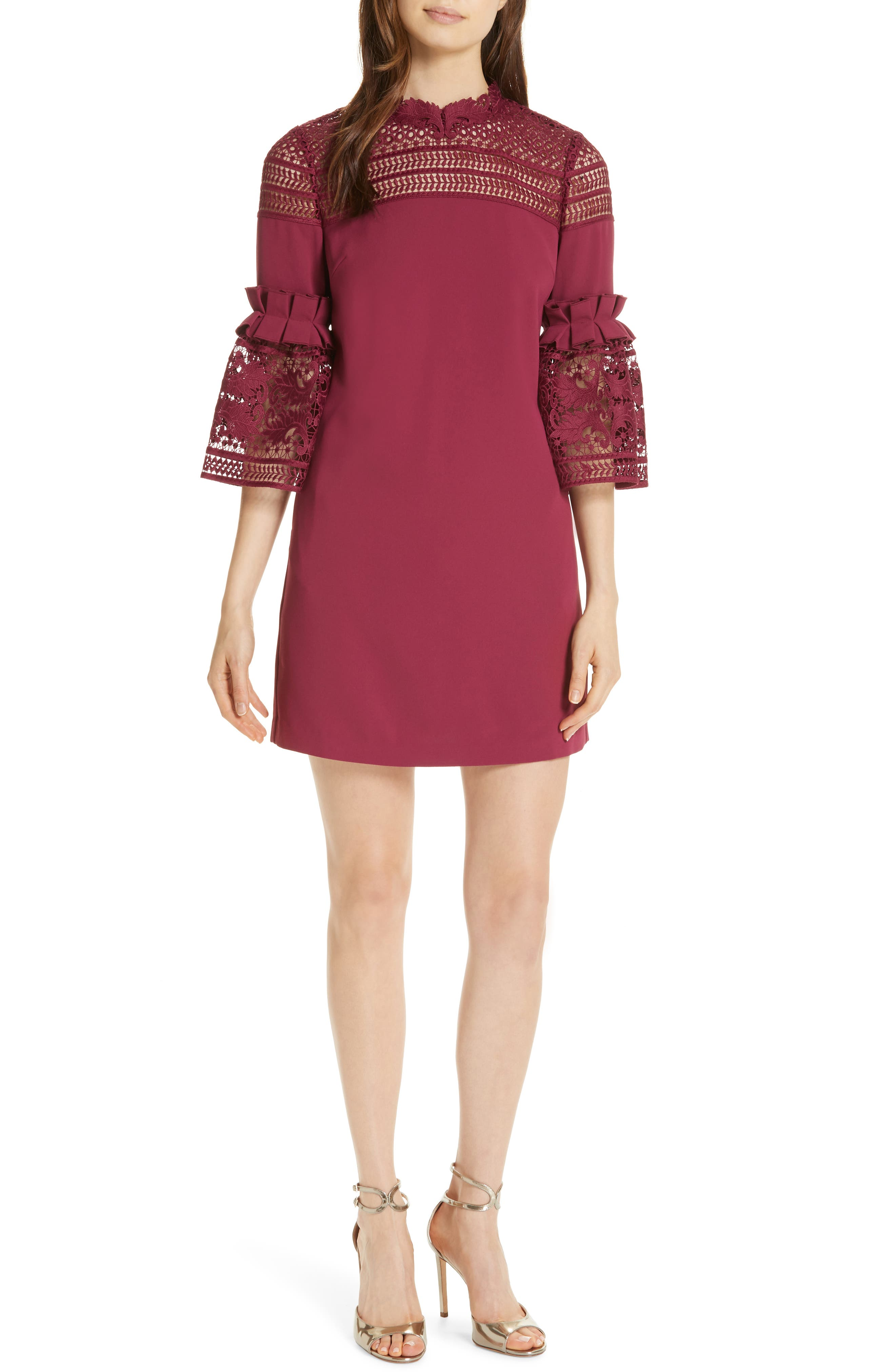 Lace Panel Bell Sleeve Tunic Dress,                             Main thumbnail 1, color,                             MAROON