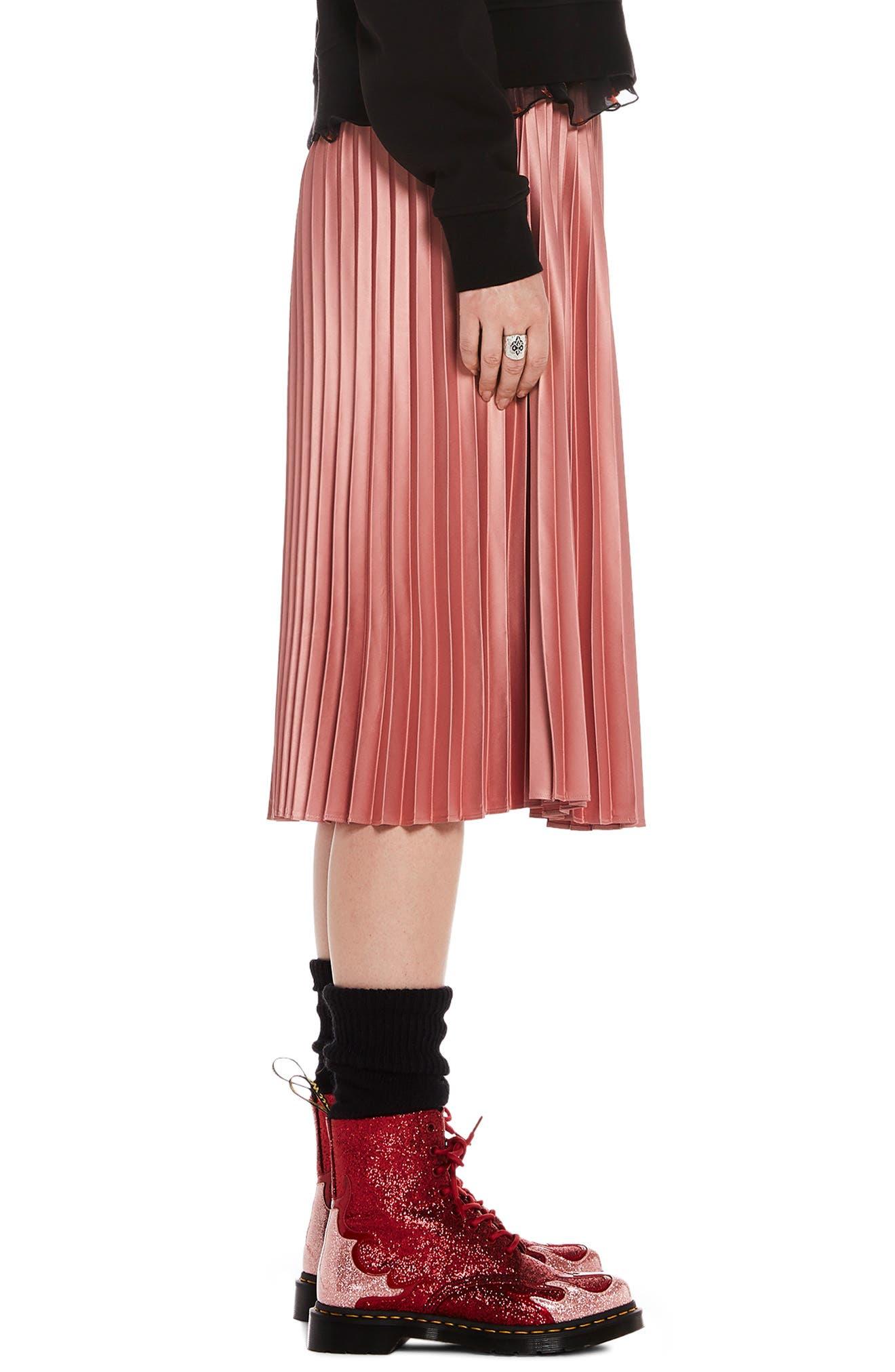 Shiny Pleated Midi Skirt,                             Alternate thumbnail 3, color,                             650