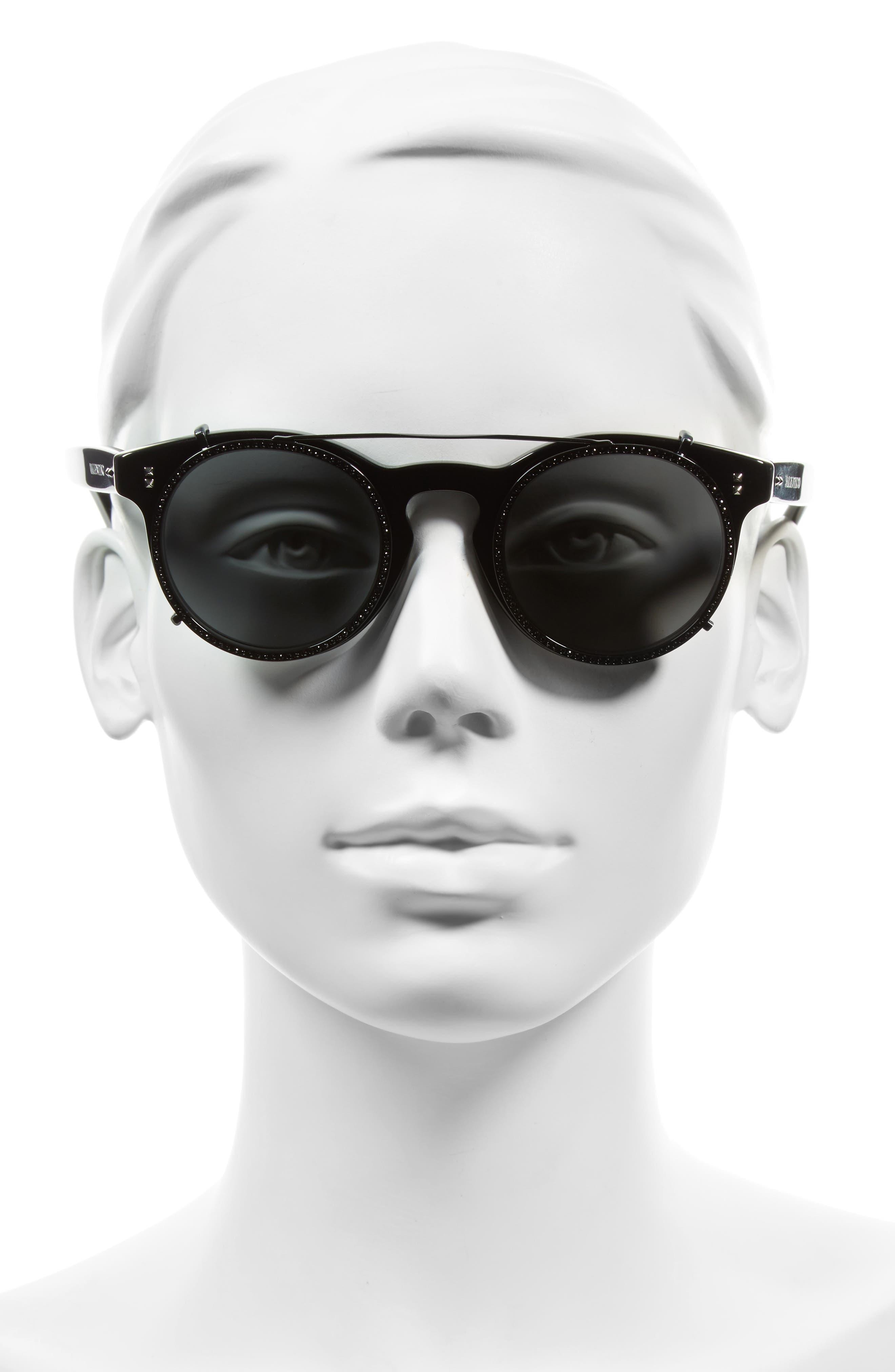 47mm Round Sunglasses,                             Alternate thumbnail 2, color,                             001