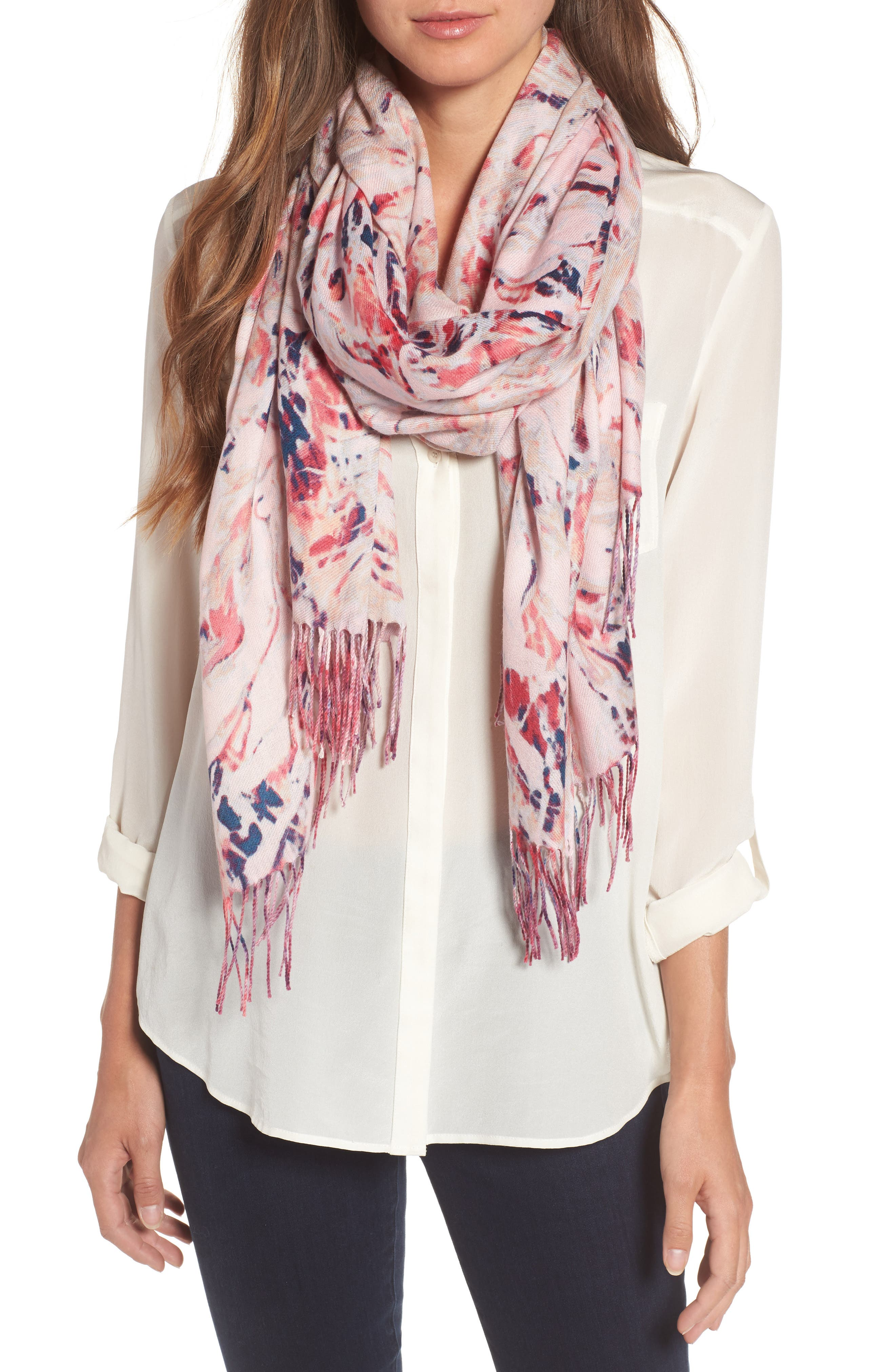Marble Tissue Wool & Cashmere Scarf,                             Main thumbnail 4, color,